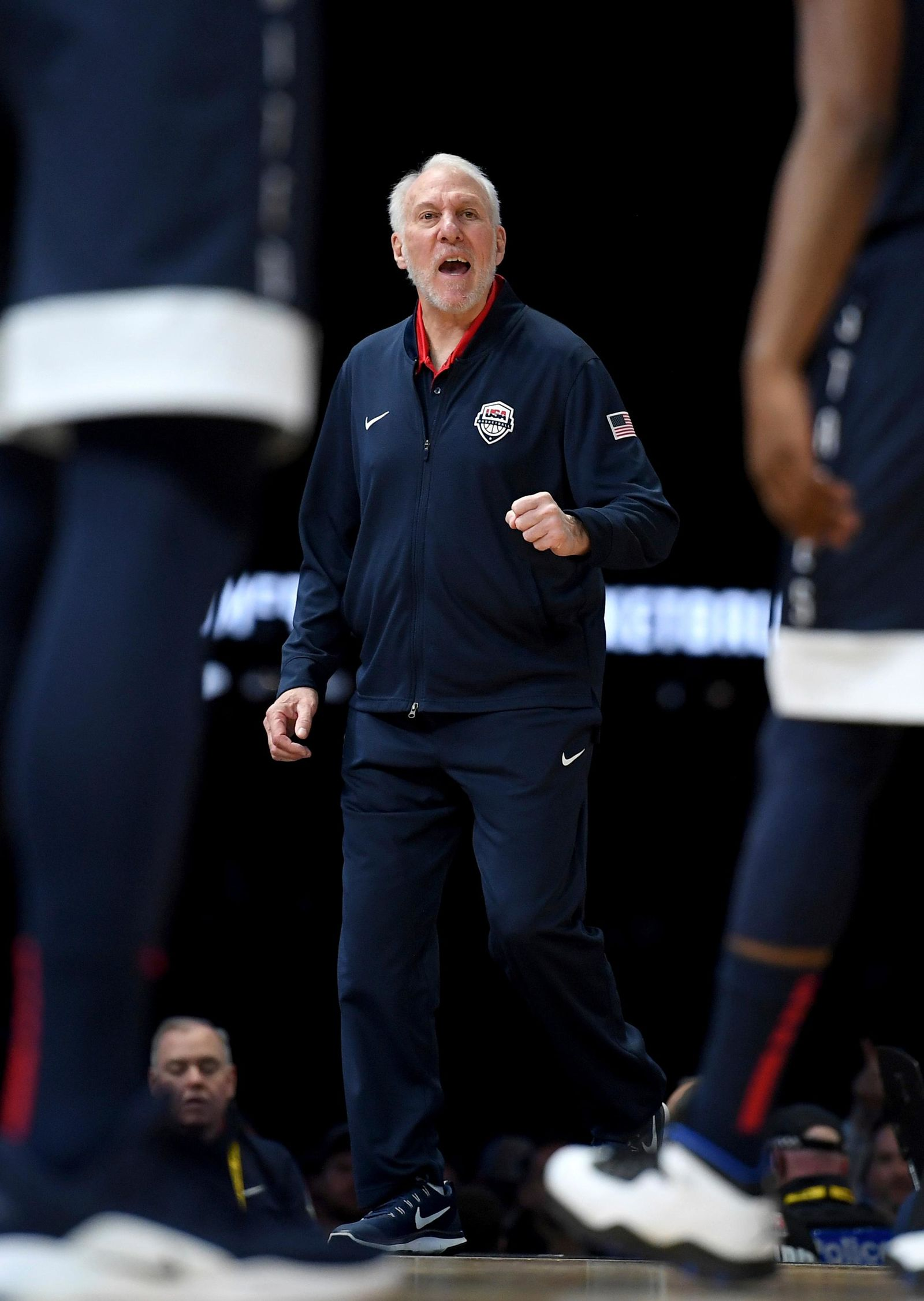United States' head coach Gregg Popovich gestures during their exhibition basketball game against Australia in Melbourne, Saturday, Aug. 24, 2019. (AP Photo/Andy Brownbill)