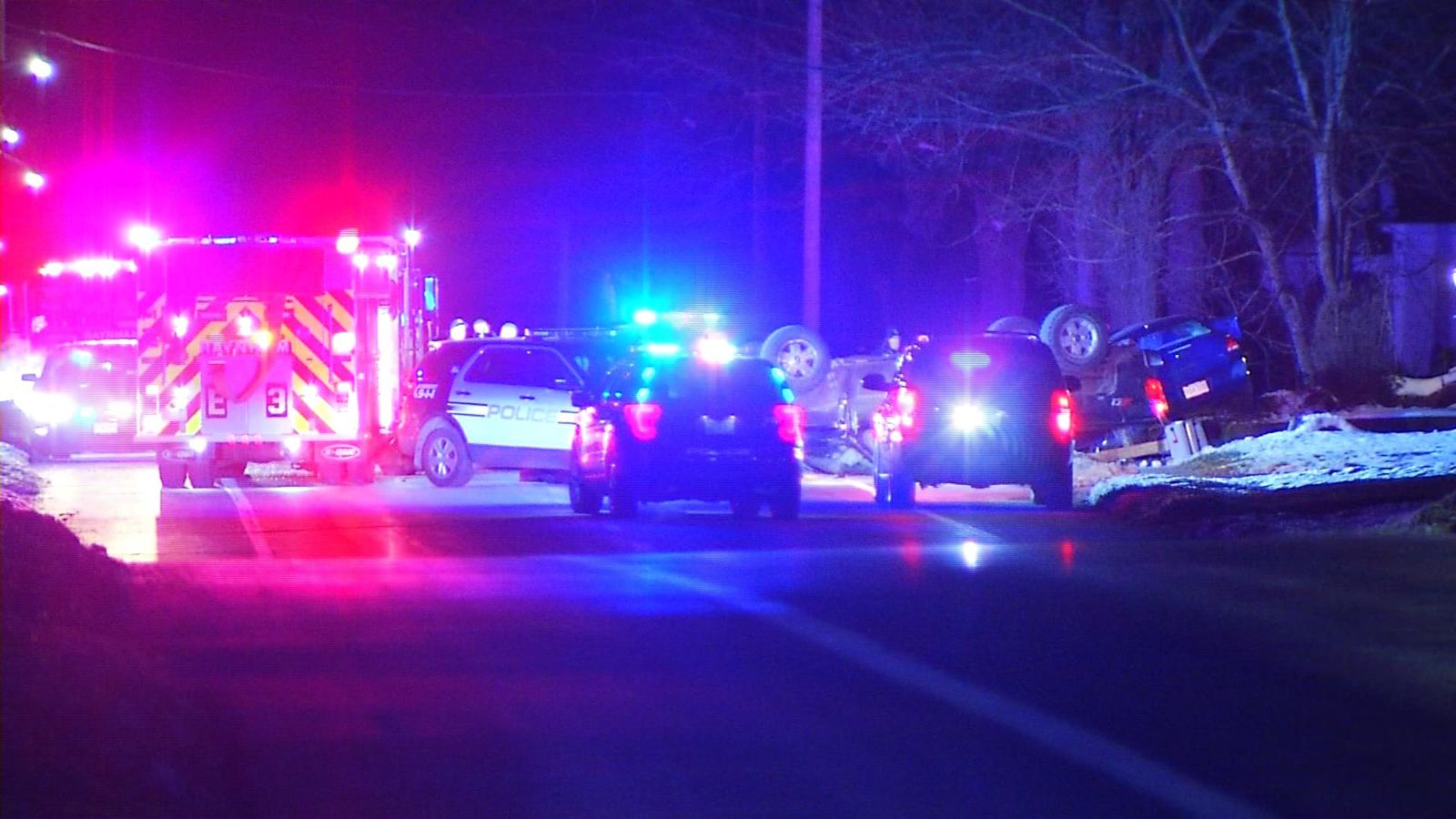 A woman was killed and a man was seriously injured in a three-car crash on Broadway in Raynham, Saturday, Dec. 7, 2019. (WJAR)