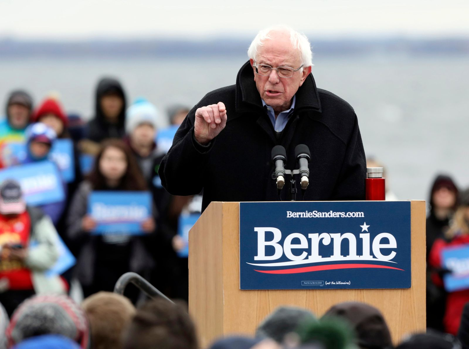 Democratic presidential candidate Sen. Bernie Sanders, I-Vt., speaks to a crowd at James Madison Park in Madison, Friday, April 12, 2019. (Amber Arnold/Wisconsin State Journal via AP)