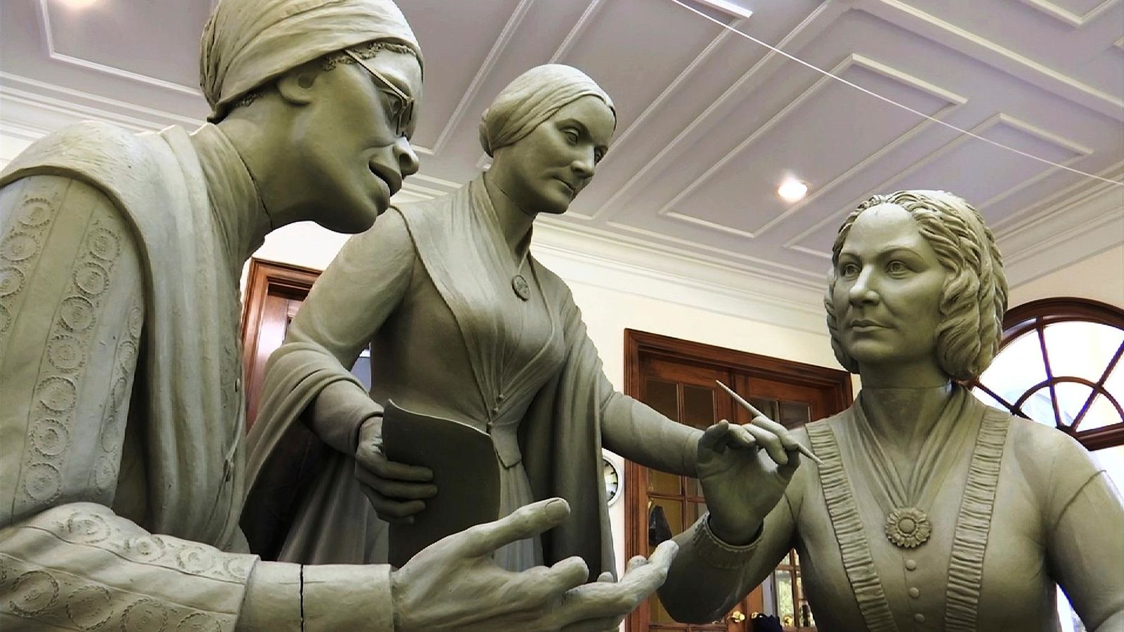 This Nov. 4, 2019, still image from video shows a portion of the first women's statue that will be installed in New York's Central Park, as it is being created by sculptor Meredith Bergmann in her studio in Ridgefield, Conn.{ } (AP Photo/Joseph Frederick)