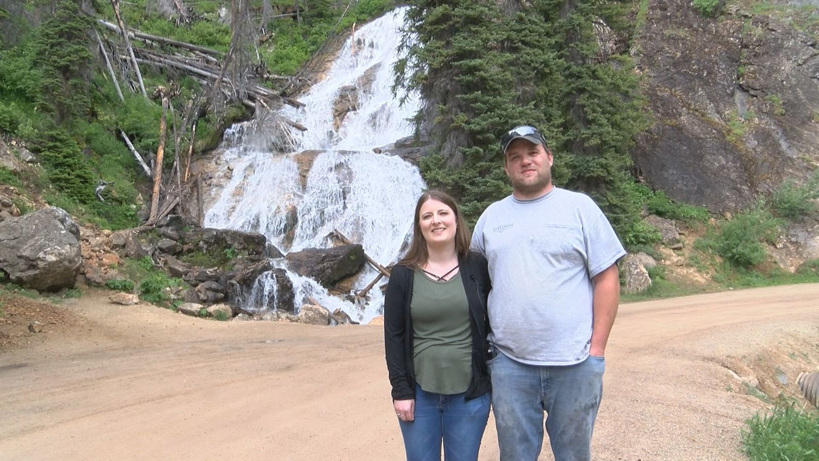 Katelyn and Tyler Harvie of Great Falls enjoy the view and the drive over Skalkaho Pass. The couple likes to make a trip to see the falls at least once a year.{ }