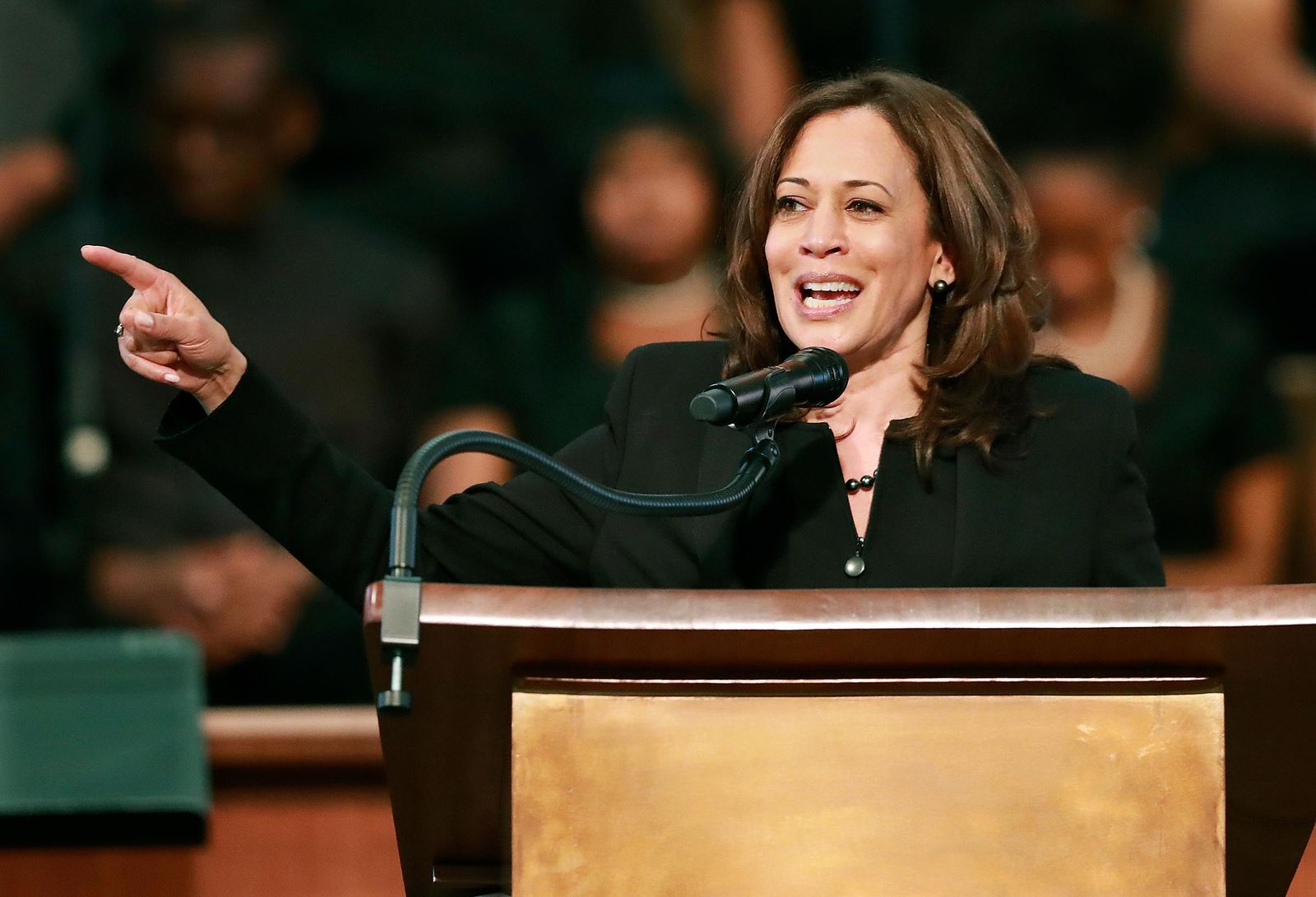 U.S. Sen. Kamala Harris, D-Calif., makes special remarks during the worship service at Ebenezer Baptist Church on Sunday, March 24, 2019, in Atlanta.{ } via AP)