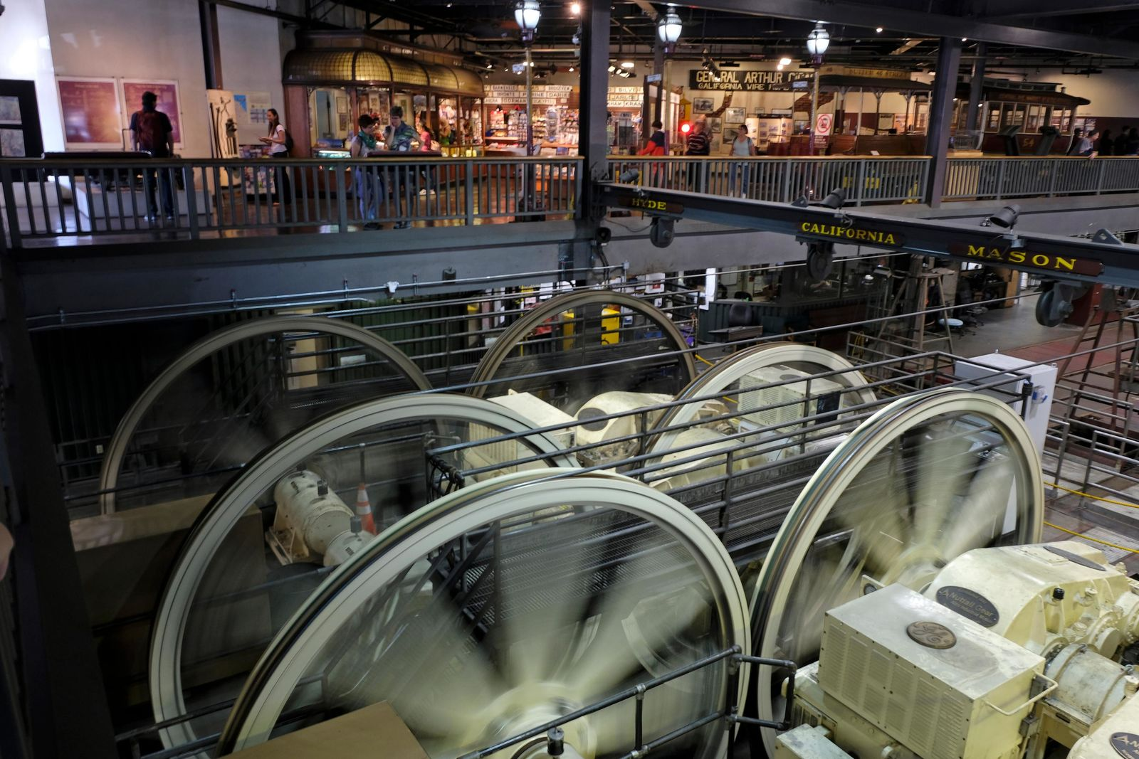 Sheaves turn by gearboxes inside the cable car powerhouse Wednesday, Sept. 11, 2019, in San Francisco. (AP Photo/Eric Risberg)