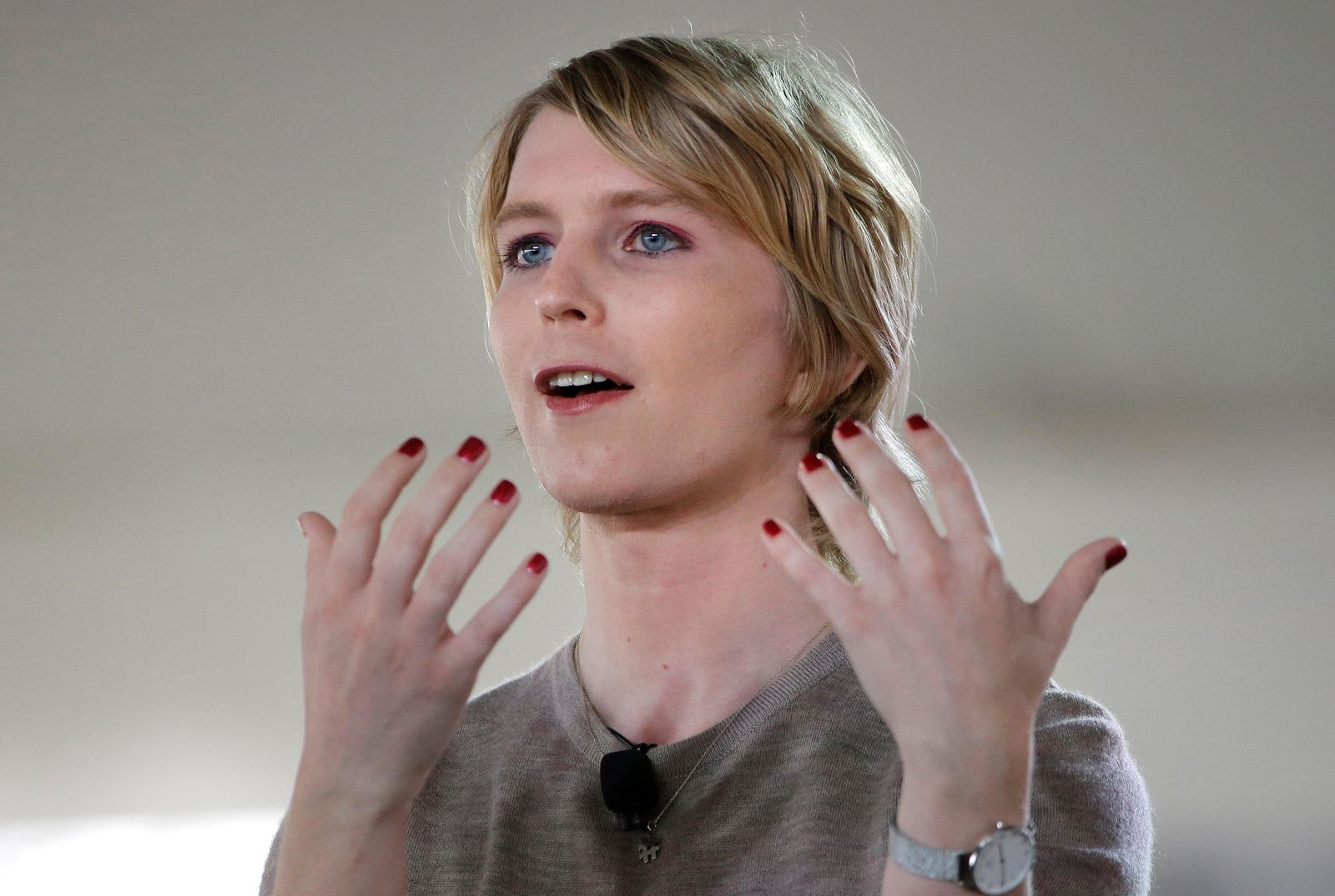 FILE - In this Sunday, Sept. 17, 2017 file photo, Chelsea Manning speaks during the Nantucket Project's annual gathering in Nantucket, Mass. (AP Photo/Steven Senne)