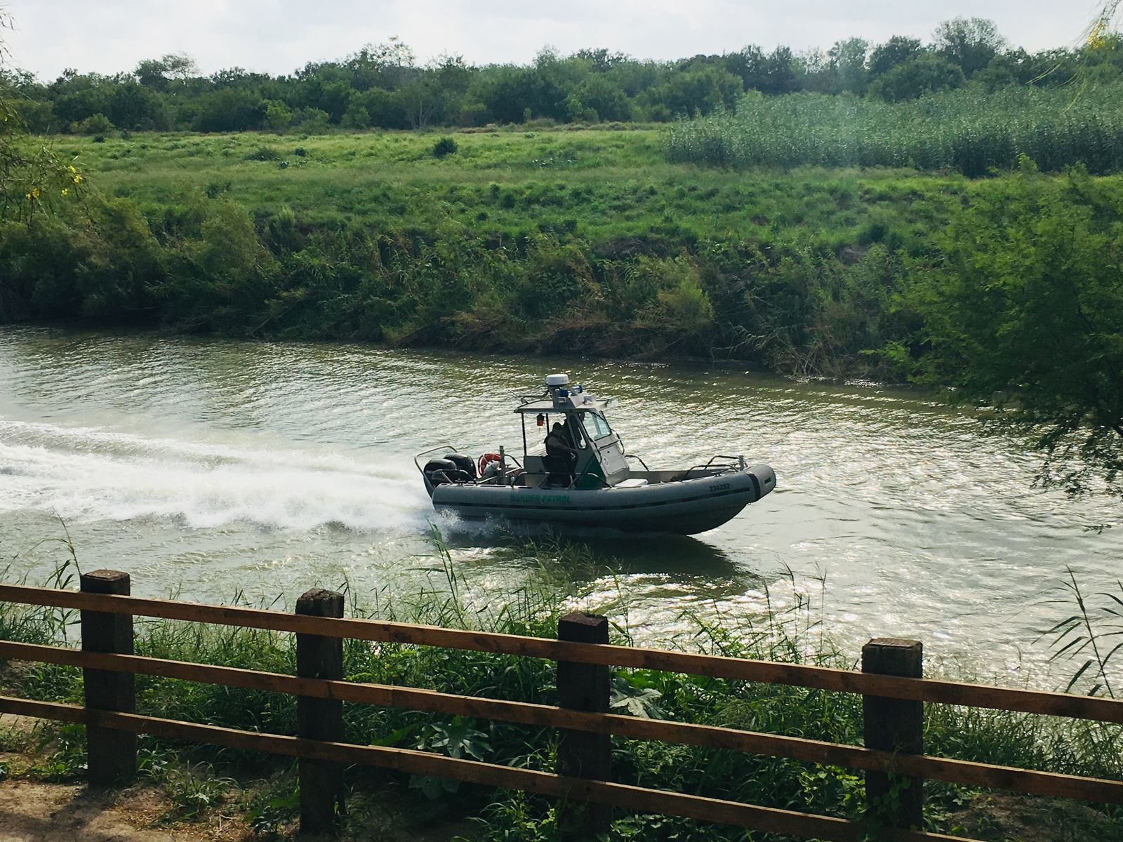 A U.S. Border Patrol boat navigates the Rio Grande near where the bodies of Salvadoran migrant Oscar Alberto Martínez Ramírez and his nearly 2-year-old daughter Valeria were found, in Matamoros, Mexico, Monday, June 24, 2019, after they drowned trying to cross the river to Brownsville, Texas. Martinez' wife, Tania told Mexican authorities she watched her husband and child disappear in the strong current. (AP Photo/Julia Le Duc)