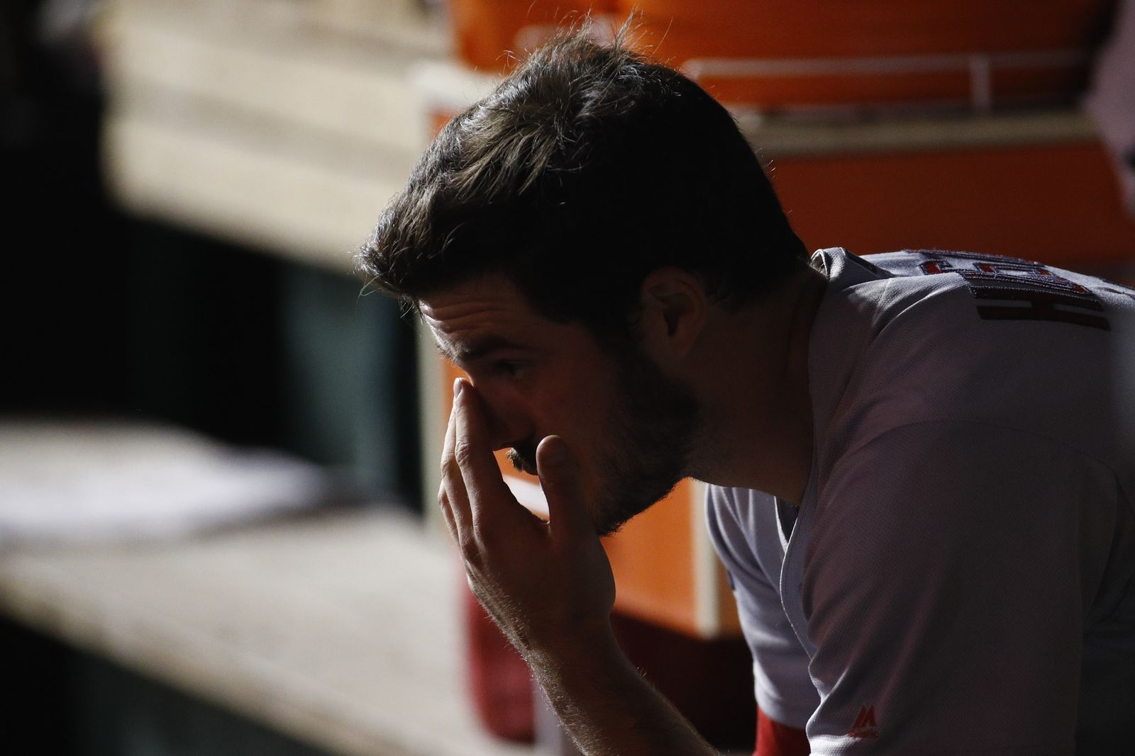 St. Louis Cardinals starting pitcher Dakota Hudson sits on the bench after being relieved during the first inning of Game 4 of the baseball National League Championship Series against the Washington Nationals Tuesday, Oct. 15, 2019, in Washington. (AP Photo/Patrick Semansky)