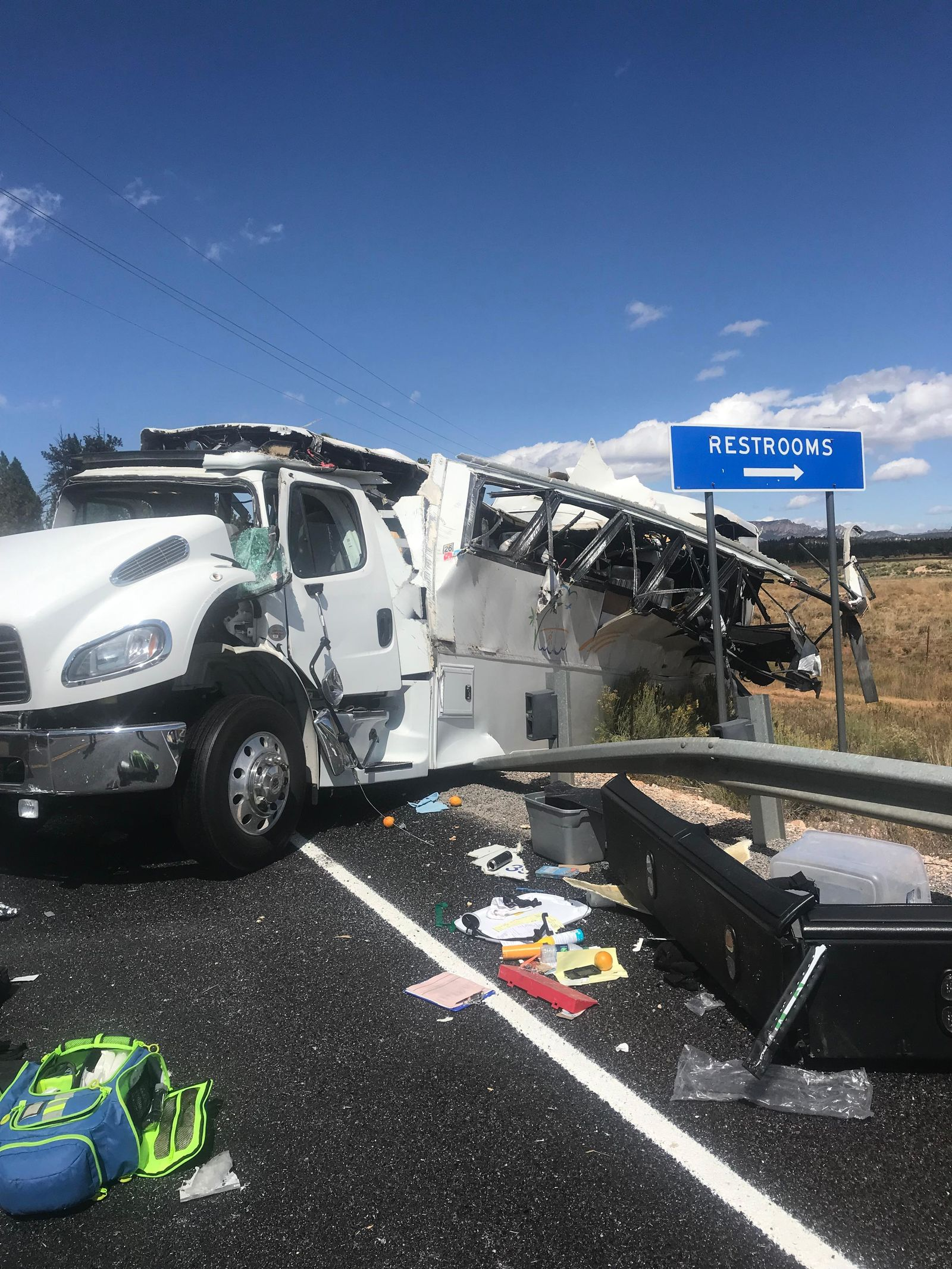Four people are dead and 30 are injured after a tour bus crashed near Bryce Canyon Friday, according to the Garfield County Sheriff's Office. (Photo:{ }Courtesy Danny Perkins with Garfield County Sheriff's Office){ }