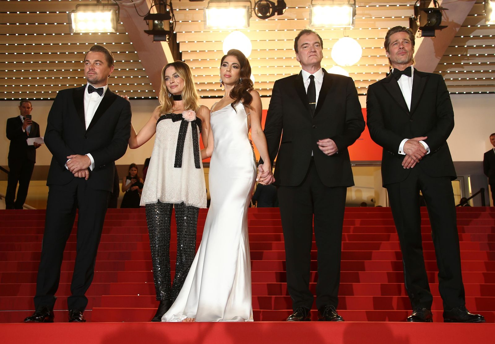 Actor Brad Pitt, from right, director Quentin Tarantino, wife Daniela Pick, actors Margot Robbie and Leonardo DiCaprio pose for photographers upon departure from the premiere of the film 'Once Upon a Time in Hollywood' at the 72nd international film festival, Cannes, southern France, Tuesday, May 21, 2019. (Photo by Joel C Ryan/Invision/AP)