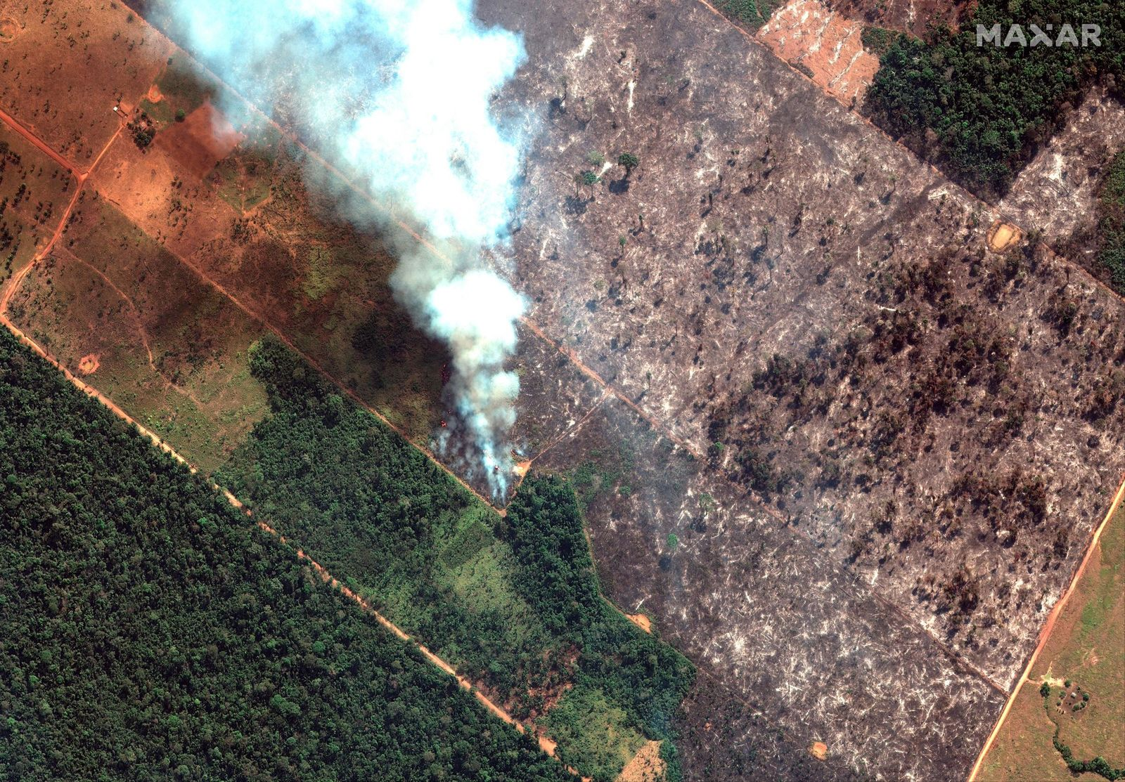 This Aug. 15, 2019 satellite image from Maxar Technologies shows closeup view of a fire southwest of Porto Velho Brazil. (Satellite image ©2019 Maxar Technologies via AP)