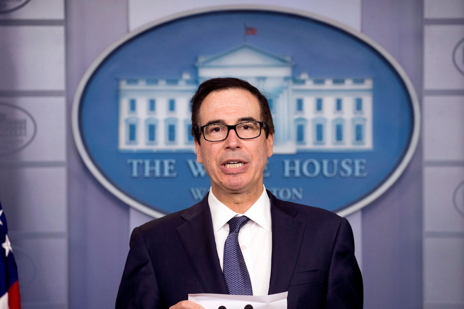Treasury Secretary Steven Mnuchin speakd in the Briefing Room of the White House in Washington, Friday, Oct. 11, 2019. (AP Photo/Andrew Harnik)
