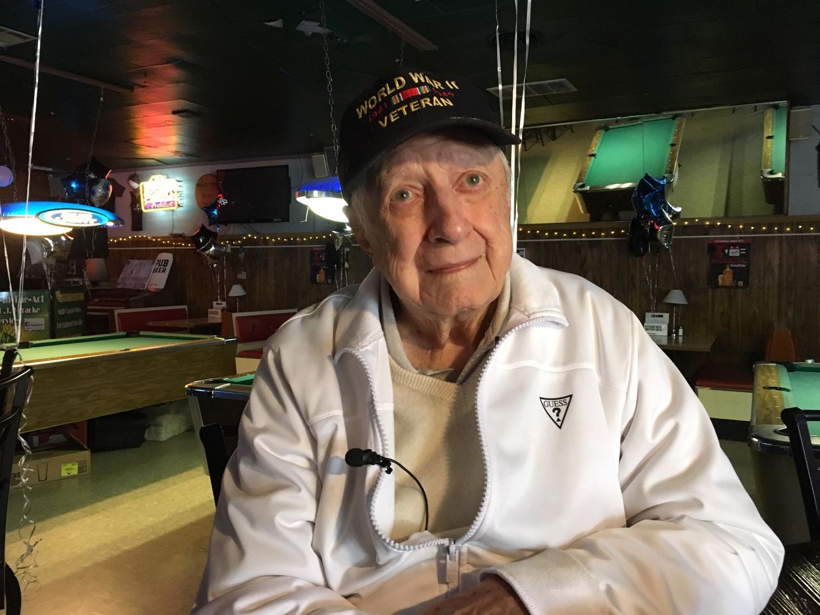 Earl Foley, owner of Time Out Tavern in Springfield, celebrates his 100th birthday on Oct. 11, 2019. (Tom Adams/SBG)