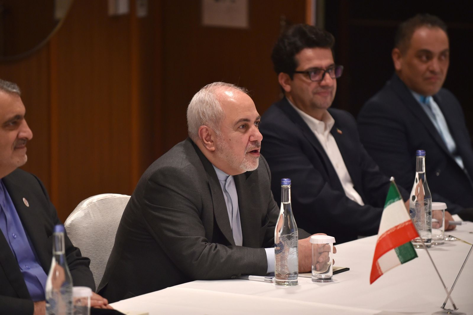Iranian Foreign Minister Mohammad Javad Zarif, second left, speaks during a meeting with his Japanese counterpart Taro Kono at a hotel in Yokohama on August 27, 2019. (Kazuhiro Nogi/Pool Photo via AP)