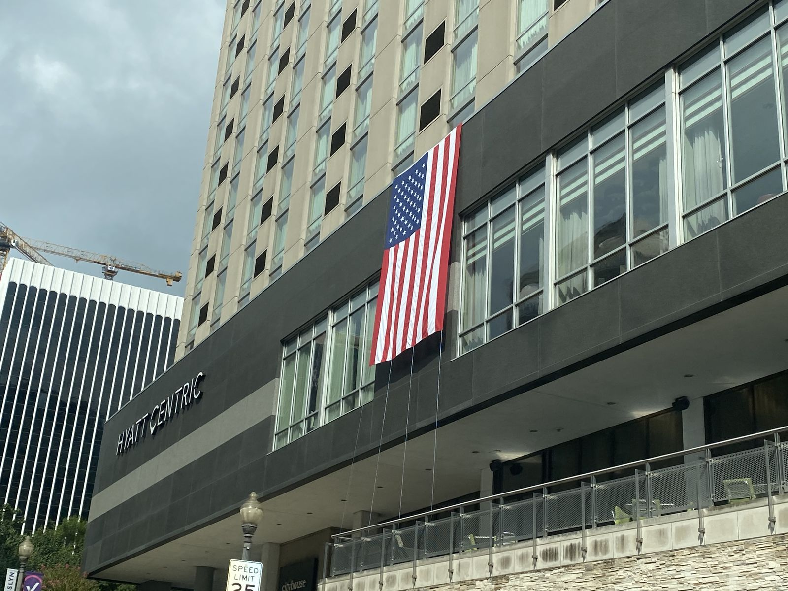 25 American flags are draped over skyrise buildings in Arlington's Rosslyn neighborhood. A tribute to mark the anniversary of 9/11. (ABC7)