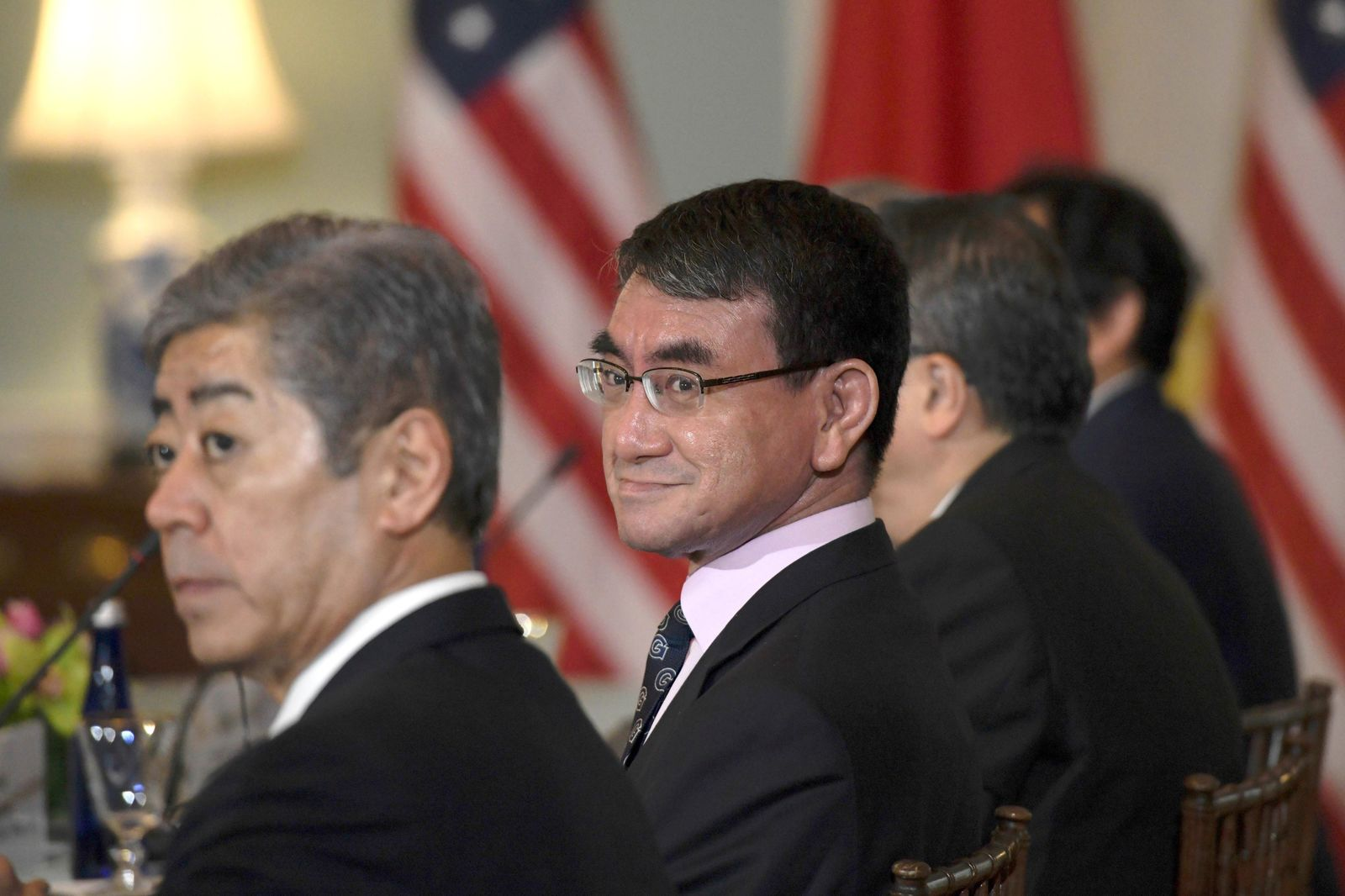 Japanese Foreign Minister Taro Kono, right, and Defense Minister Takeshi Iwaya, left, meet with Secretary of State Mike Pompeo and acting Secretary of Defense Patrick Shanahan on Friday, April 19, 2019, at the Department of State in Washington. (AP Photo/Sait Serkan Gurbuz)