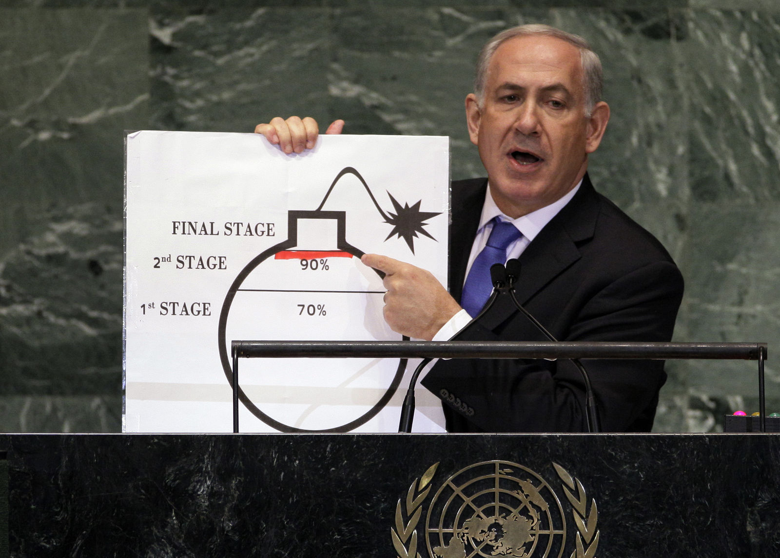 FILE - In this Sept. 27, 2012 file photo, Prime Minister Benjamin Netanyahu of Israel shows an illustration as he describes his concerns over Iran's nuclear ambitions during his address to the 67th session of the United Nations General Assembly at U.N. headquarters.(AP Photo/Richard Drew, File)
