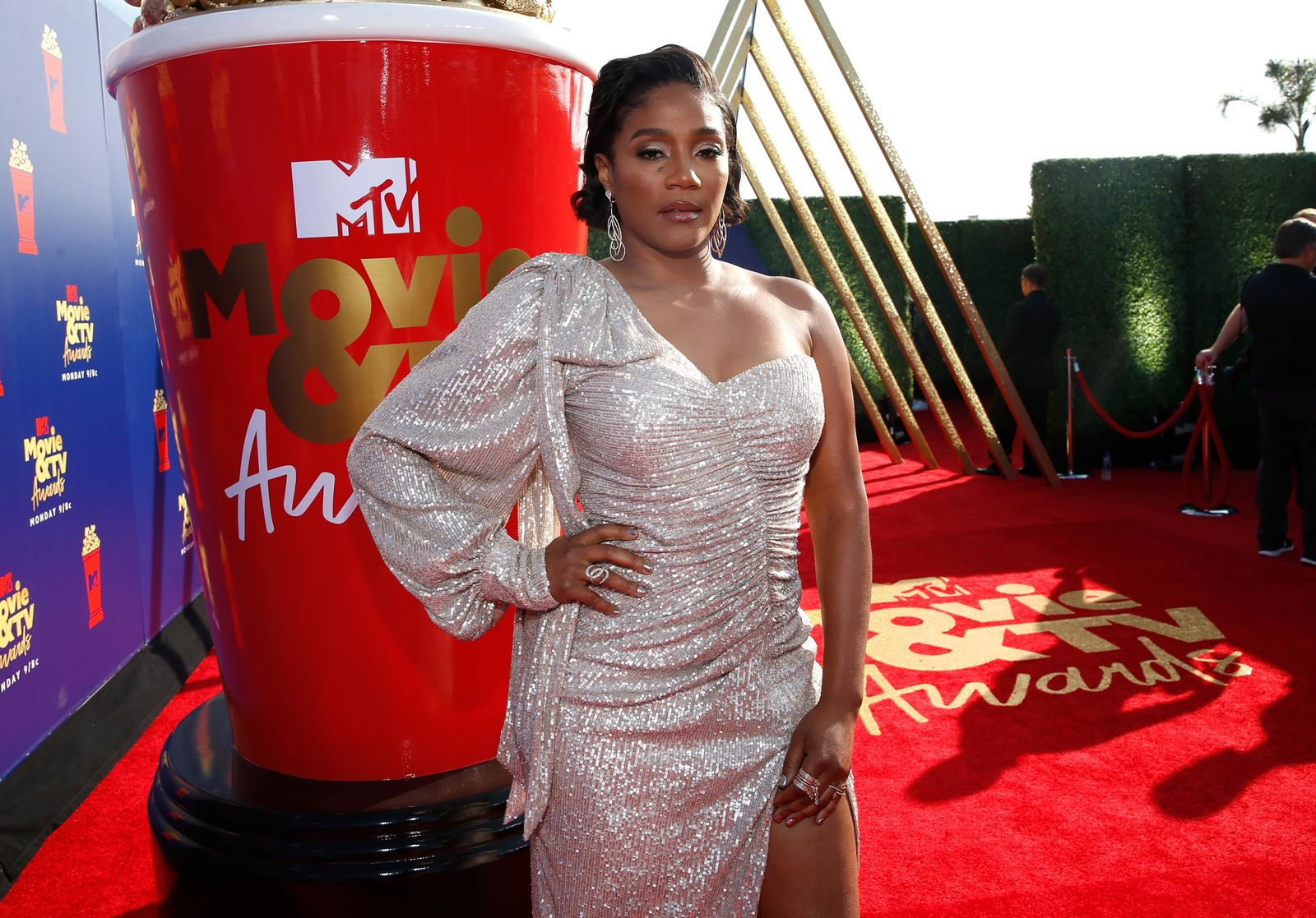 Tiffany Haddish arrives at the MTV Movie and TV Awards on Saturday, June 15, 2019, at the Barker Hangar in Santa Monica, Calif. (Photo by Danny Moloshok/Invision/AP)