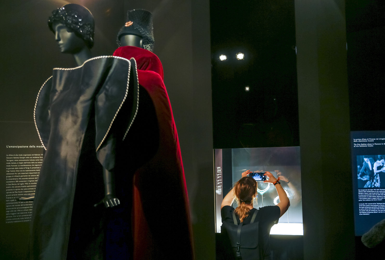 "Two creations from the 1960' by fashion designer Roberto Capucci are on display during a preview of the exhibition ""Bulgari. The story, the dream"" at St. Angel Castle in Rome, Tuesday, June 25, 2019. (AP Photo/Domenico Stinellis)"