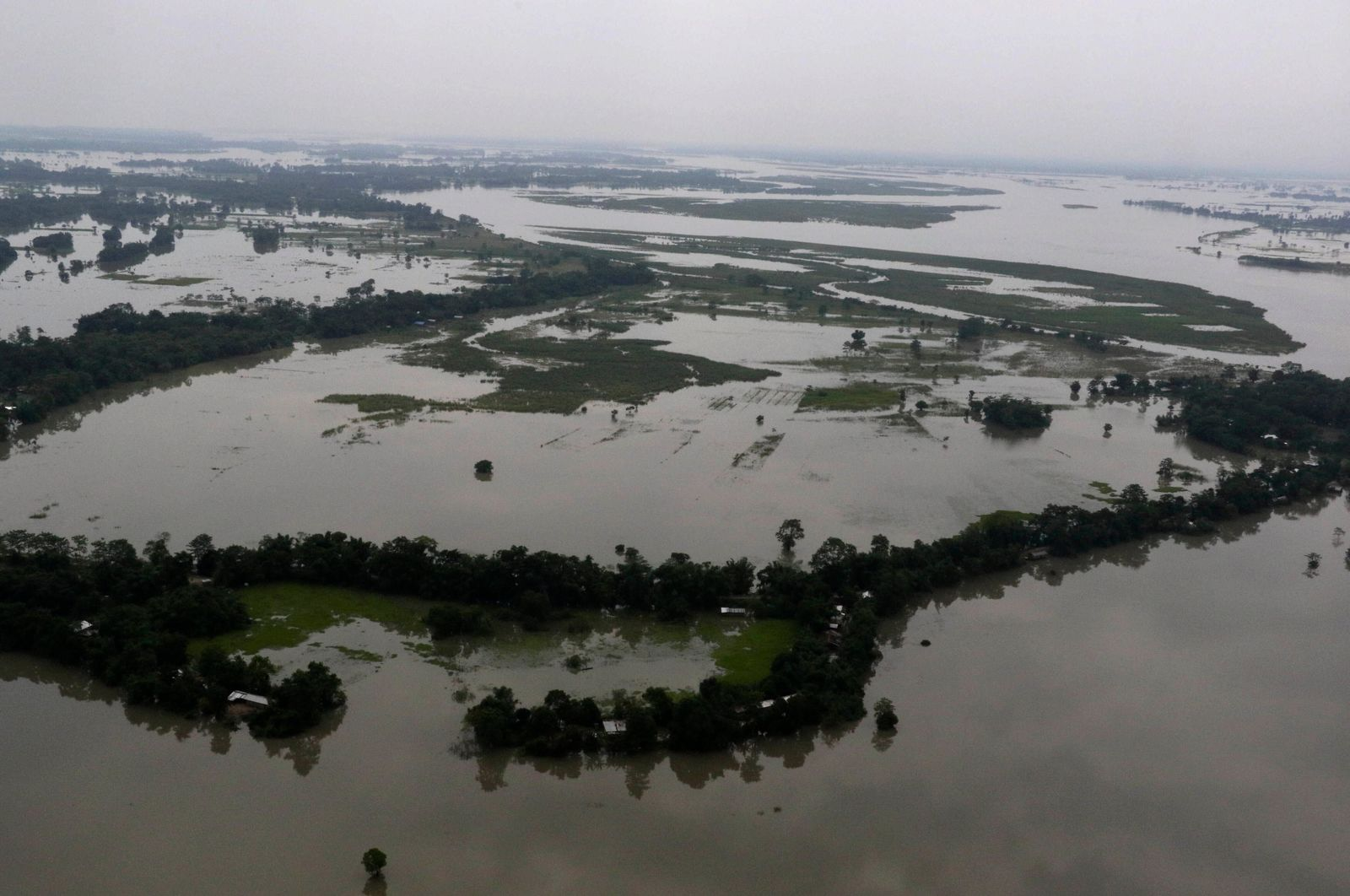 An aerial view of flooded Majuli, an island in River Brahmaputra, Assam, India, Tuesday, July 16, 2019.{ } (AP Photo)
