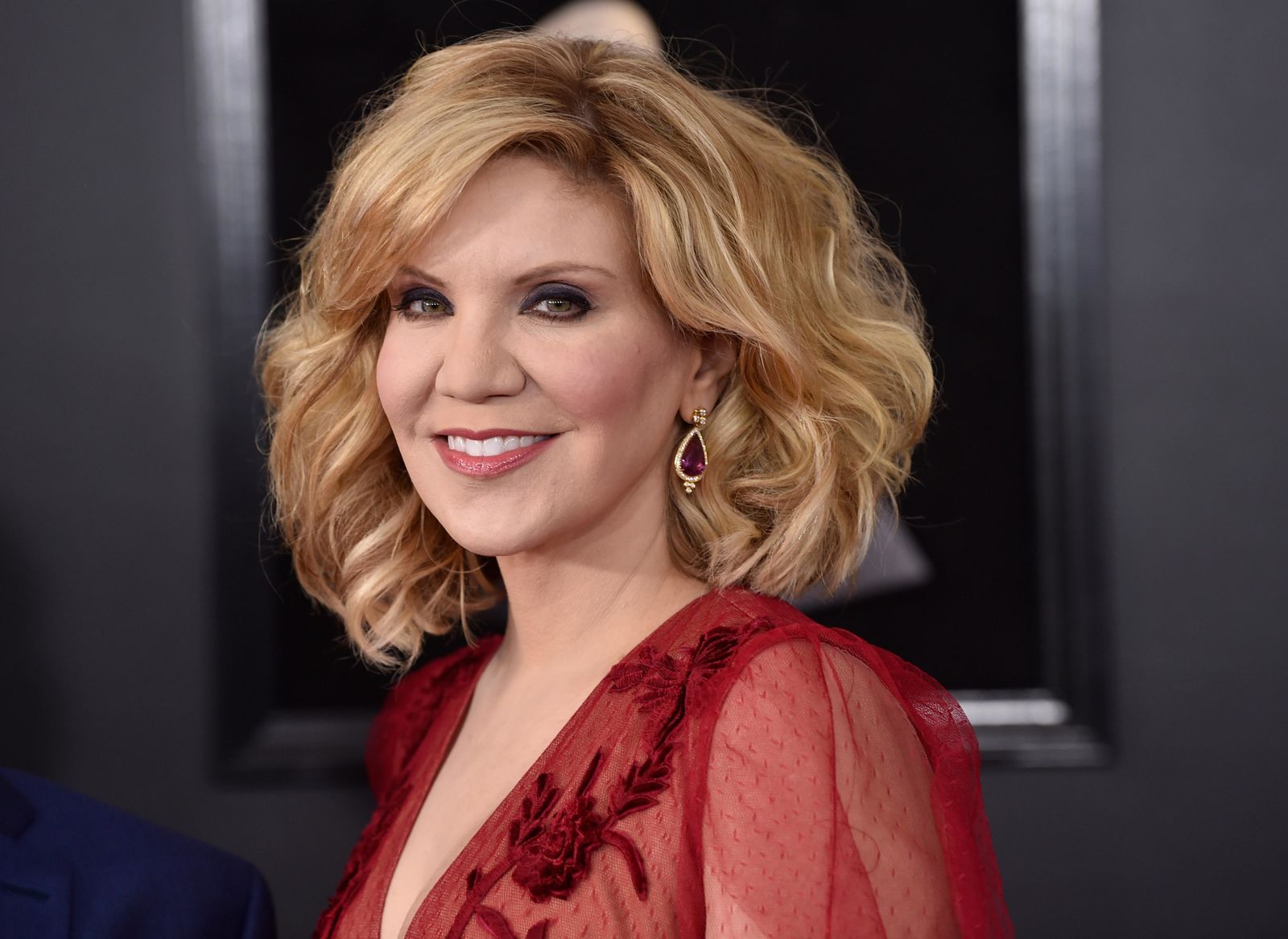 FILE - In this Jan. 28, 2018, file photo, Alison Krauss arrives at the 60th annual Grammy Awards at Madison Square Garden, in New York.{ } (Photo by Evan Agostini/Invision/AP, File)