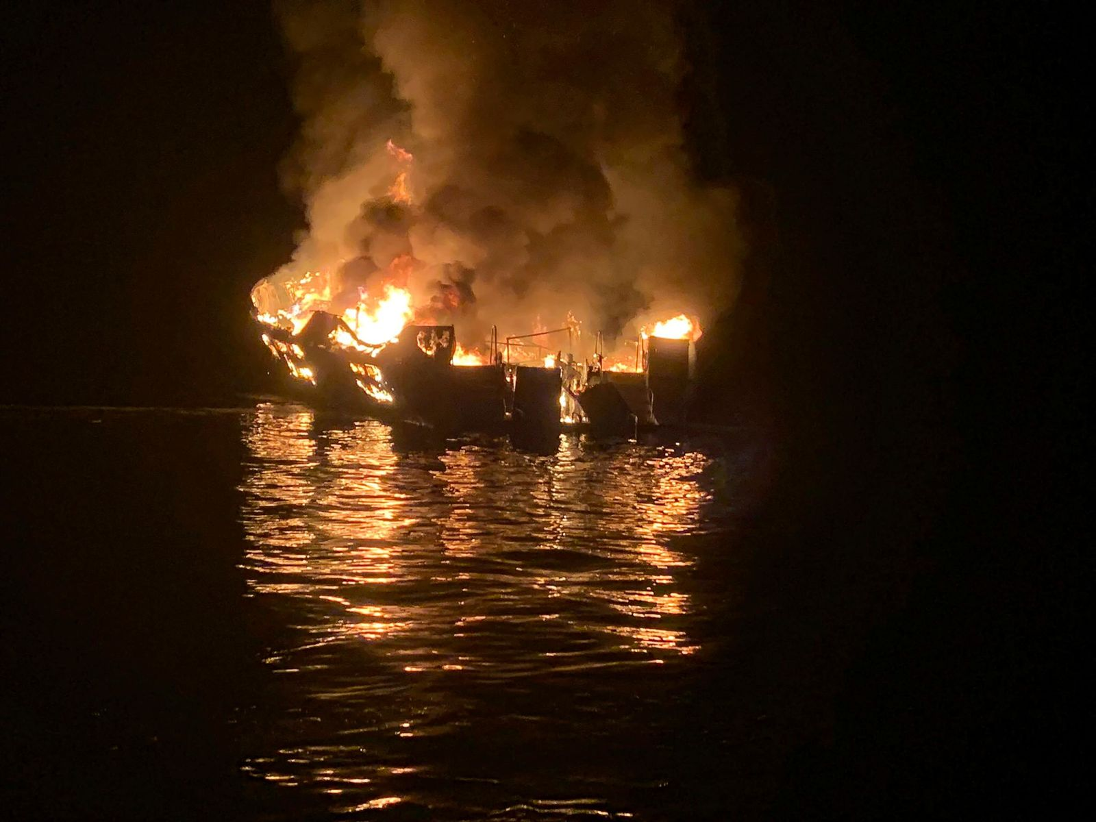 FILE - In this Sept. 2, 2019, file photo, provided by the Santa Barbara County Fire Department, a dive boat is engulfed in flames after a deadly fire broke out aboard the commercial scuba diving vessel off the Southern California Coast. (Santa Barbara County Fire Department via AP, File)