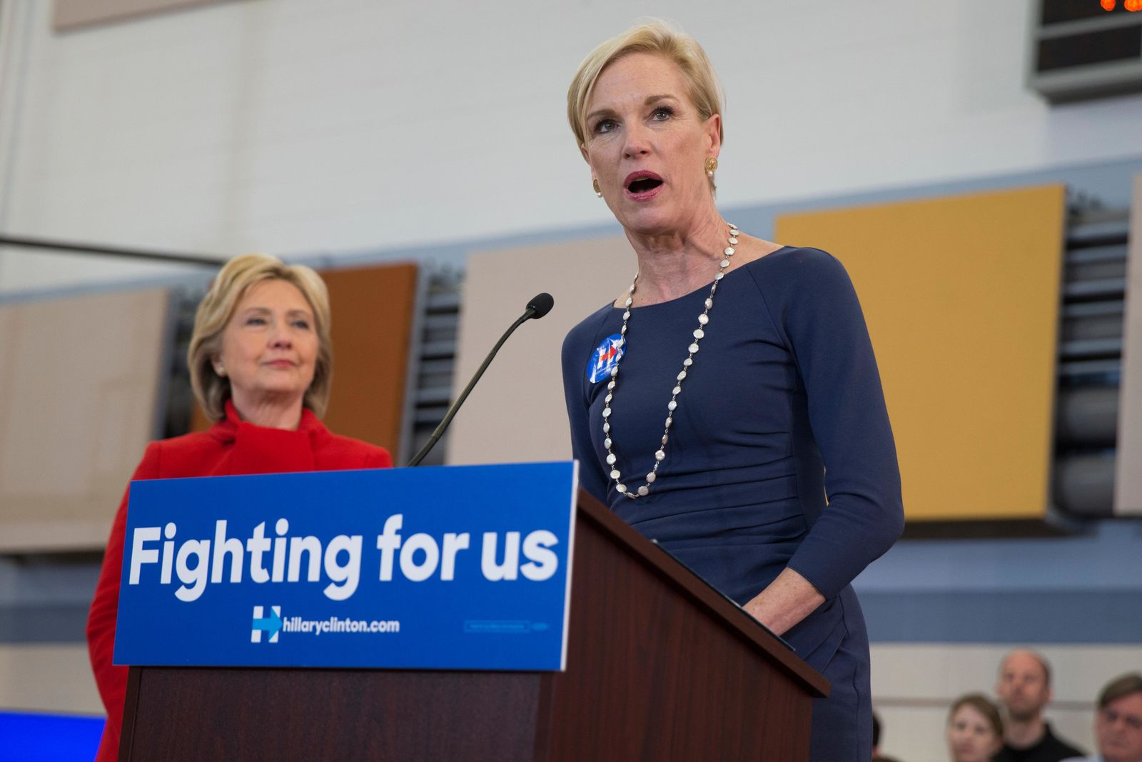 FILE - In this Sunday, Jan. 24, 2016 file photo, Planned Parenthood President Cecile Richards introduces Democratic presidential candidate Hillary Clinton during a campaign rally at Burford Garner Elementary School in North Liberty, Iowa. On Friday, Jan. 26, 2018, Richards, who led Planned Parenthood through 12 tumultuous years, said she is stepping down as its president. (AP Photo/Evan Vucci)