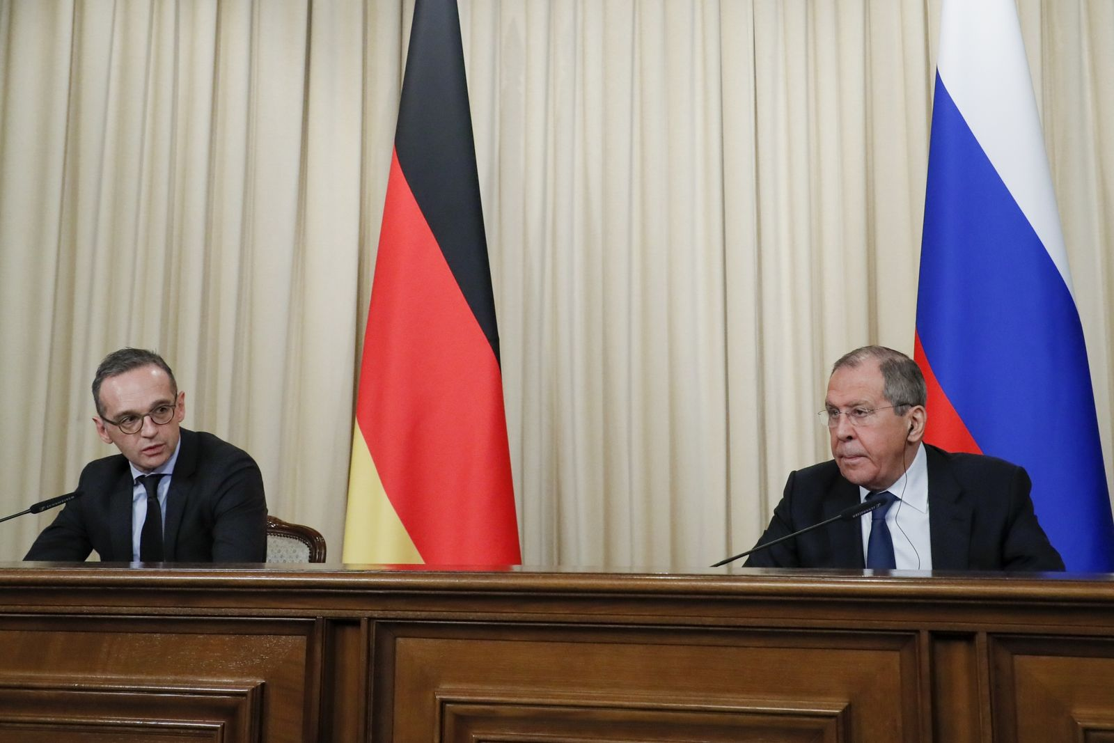 Russian Foreign Minister Sergey Lavrov, right, and Germany's Foreign Minister Heiko Maas attend a joint news conference following their talks in Moscow, Russia, Friday, Jan. 18, 2019. Germany's foreign minister has urged Russia to save a key arms treaty with the U.S. to prevent a new arms race. (AP Photo)