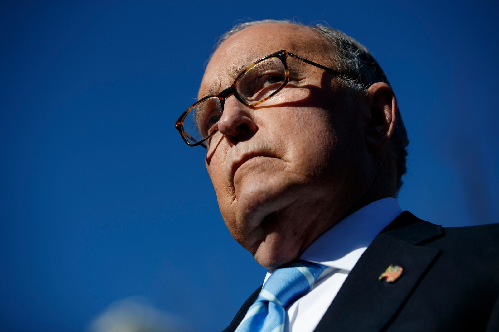 FILE- In this Dec. 3, 2018, file photo White House chief economic adviser Larry Kudlow talks with reporters about trade negotiations with China, at the White House in Washington. (AP Photo/Evan Vucci, File)