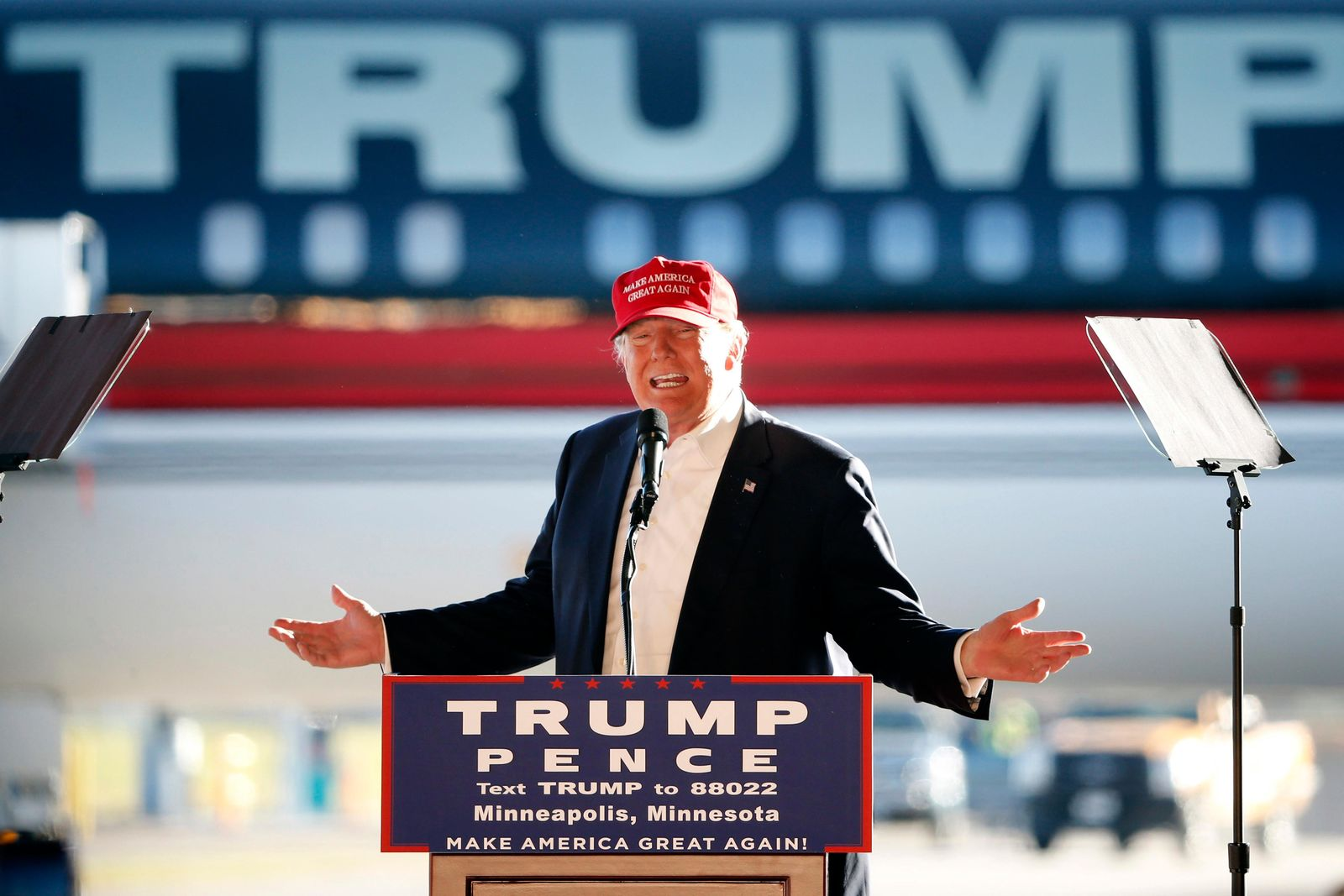FILE - In this Sunday, Nov. 6, 2016 file photo, Republican presidential candidate Donald Trump addresses the crowd during a campaign stop at the Minneapolis International Airport. (AP Photo/Charles Rex Arbogast)