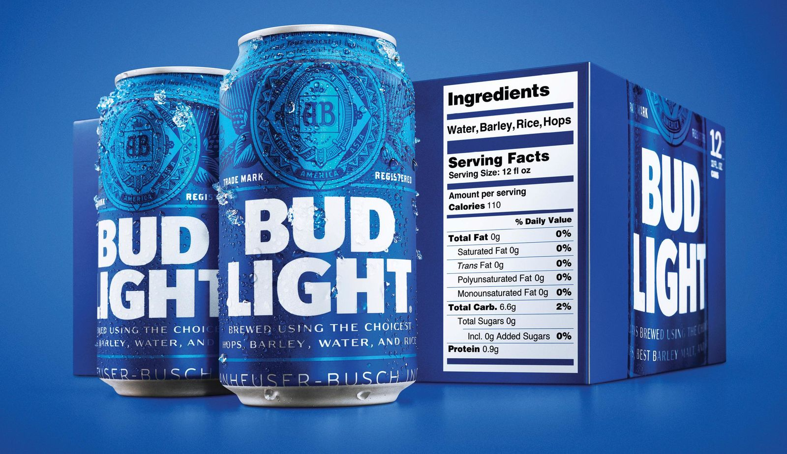 This undated product image provided by Bud Light shows a new nutrition label. Starting next month, packages of Bud Light will have prominent labels showing the beer's ingredients and calories as well as the amount of fat, carbohydrates and protein in a serving. Bud Light is likely the first of many to make the move. The labels aren't legally required, but major beer makers agreed in 2016 to voluntarily disclose nutrition facts on their products by 2020. (Bud Light via AP)