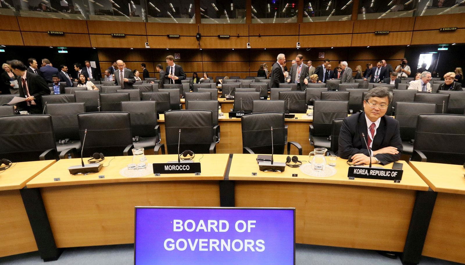 General view of the board of governors meeting of the International Atomic Energy Agency, IAEA, at the International Center in Vienna, Austria, Thursday, Aug. 1, 2019. (AP Photo/Ronald Zak)