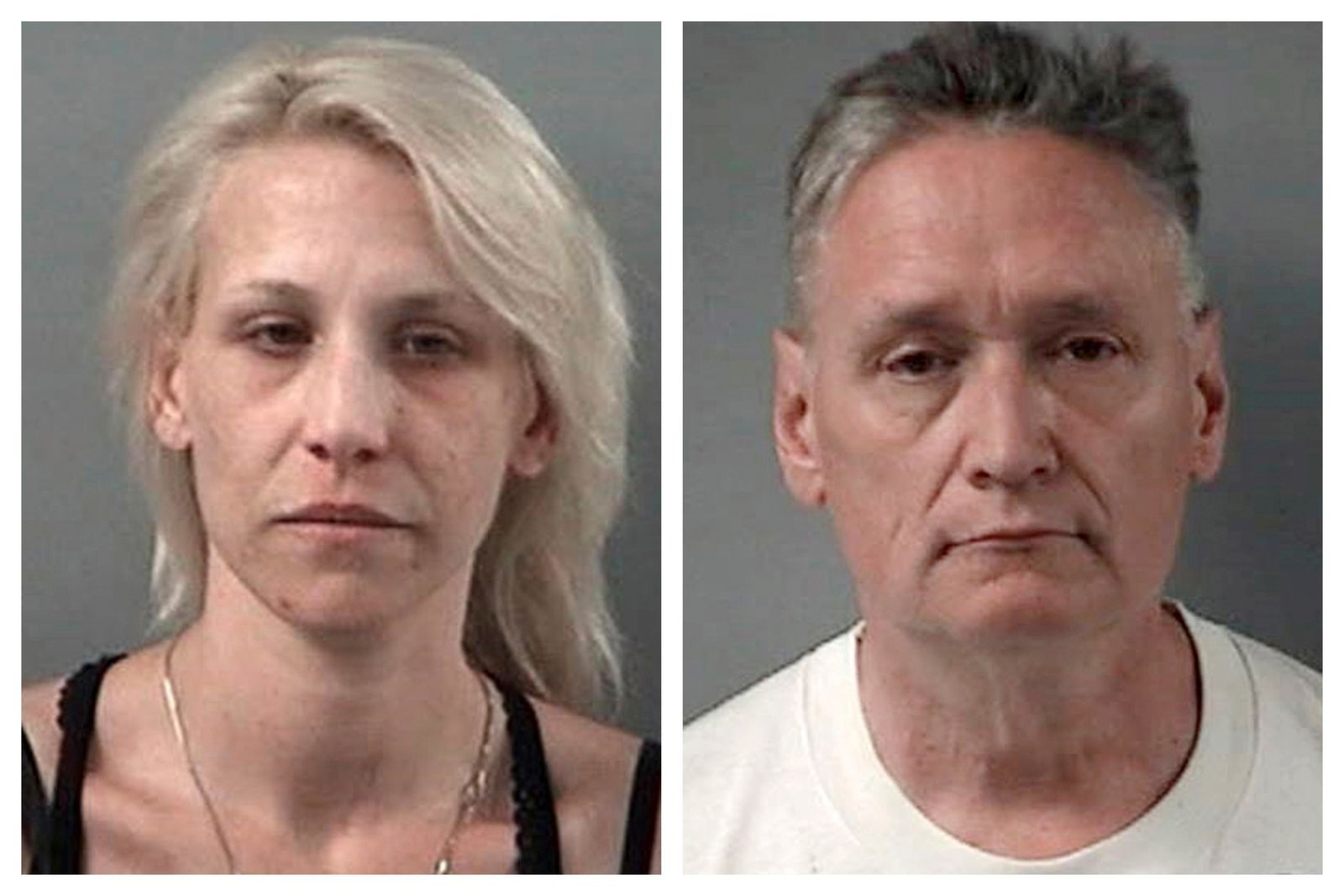 This combination April 24, 2019 booking photos provided by the Crystal Lake, Ill., Police Department shows JoAnn Cunningham and her husband, Andrew Freund Sr.{ } (Crystal Lake Police Department via AP)