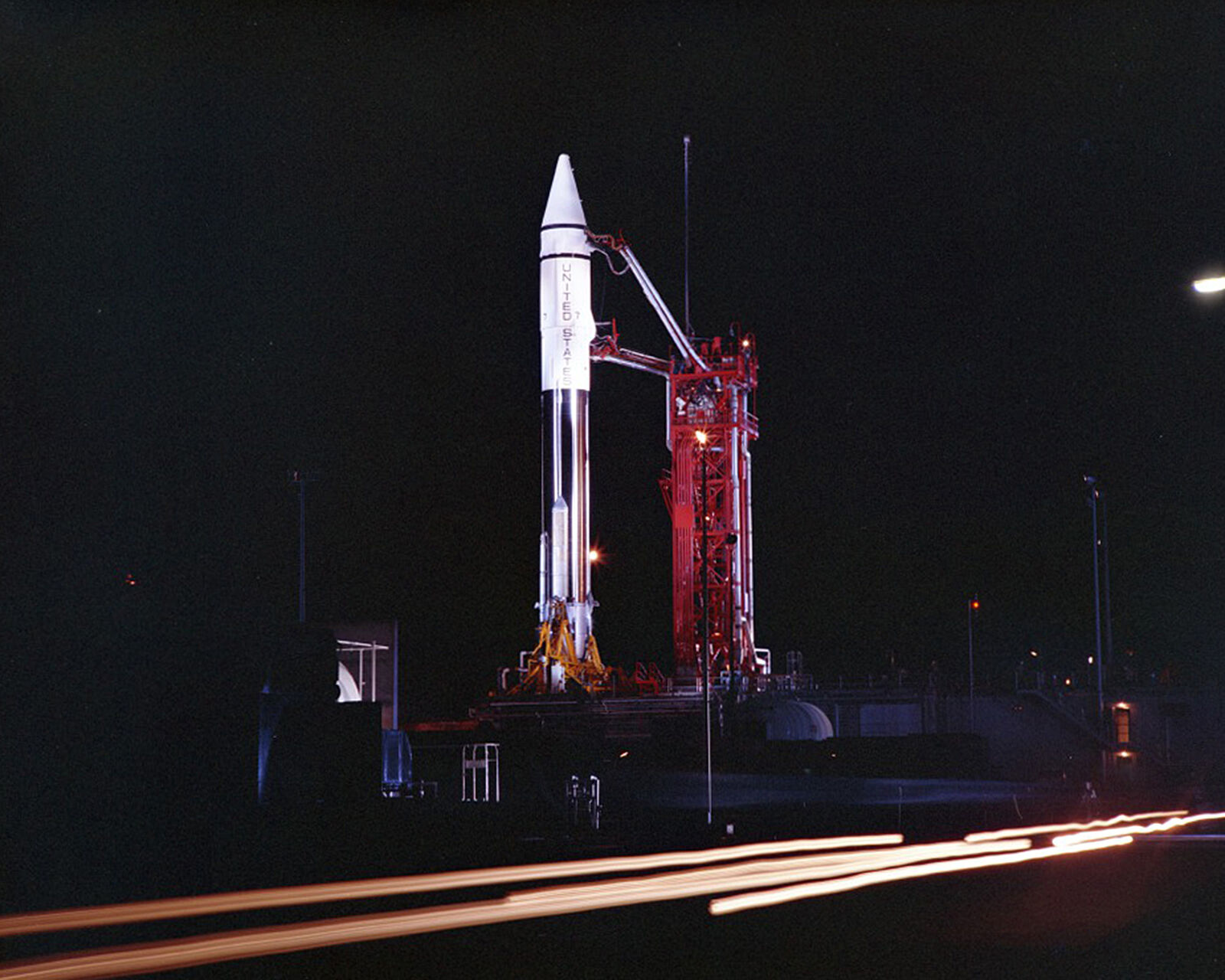 FILE - This Sept. 20, 1966 photo provided by the San Diego Air and Space Museum shows an Atlas Centaur 7 rocket on the launchpad at Cape Canaveral, Fla. (Convair/General Dynamics Astronautics Atlas Negative Collection/San Diego Air and Space Museum via AP)