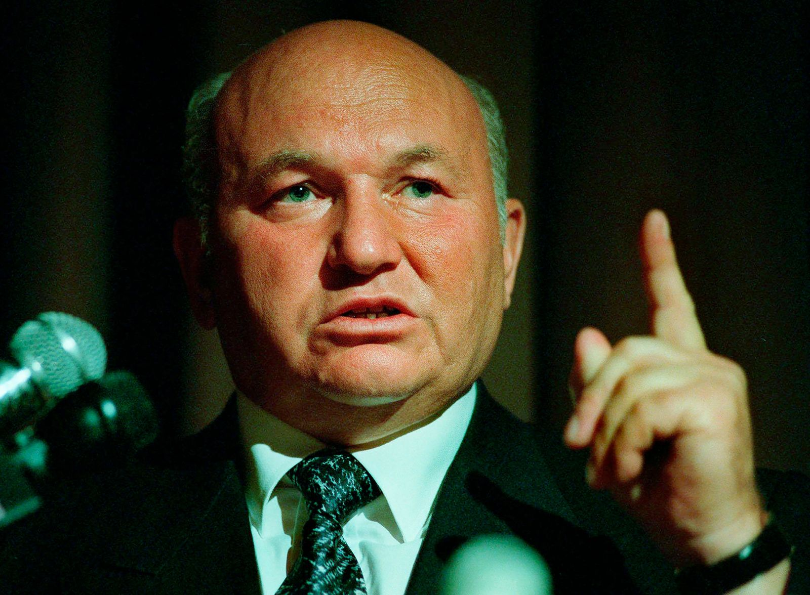 FILE - In this Monday, July 28, 1997 file photo, Moscow mayor Yuri Luzhkov speaks at the International Conference for Progress and Cooperation Dedicated to the 850th anniversary of the City of Moscow, in Beverly Hills, Calif.{ } (AP Photo/E.J. Flynn, File)