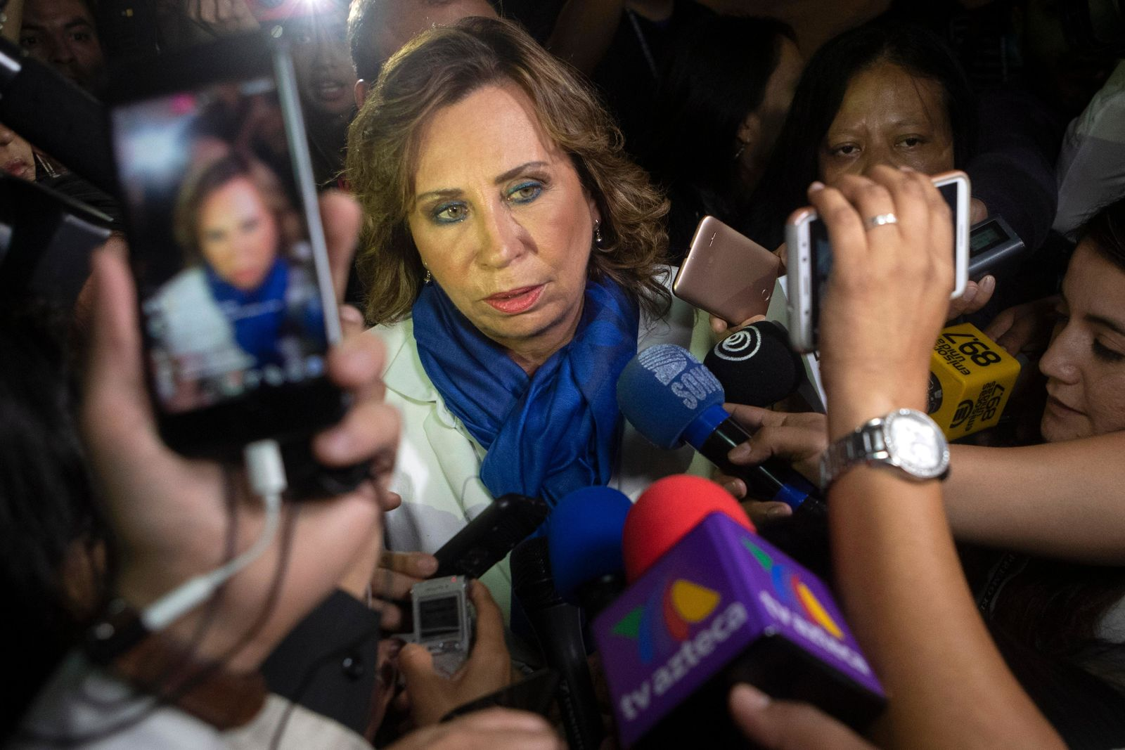 Sandra Torres, presidential candidate of the National Unity of Hope party, UNE, arrives to Electoral Court center in Guatemala City, Monday, June 17, 2019.{ } (AP Photo/Moises Castillo)