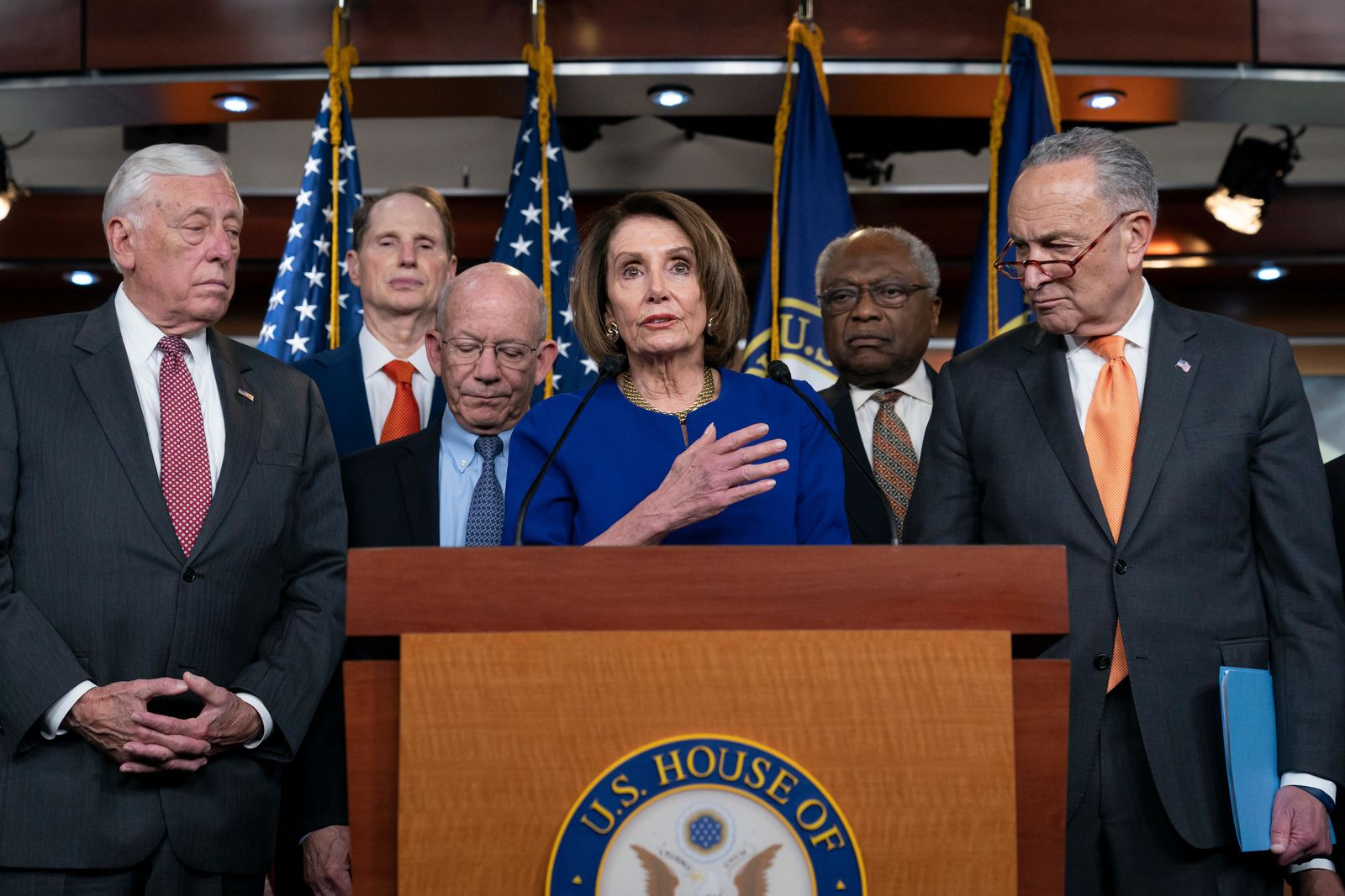 Speaker of the House Nancy Pelosi, D-Calif., center, Senate Minority Leader Chuck Schumer, D-N.Y., right, and other congressional leaders, react to a failed meeting with President Donald Trump at the White House on infrastructure, at the Capitol in Washington, Wednesday, May 22, 2019. (AP Photo/J. Scott Applewhite)
