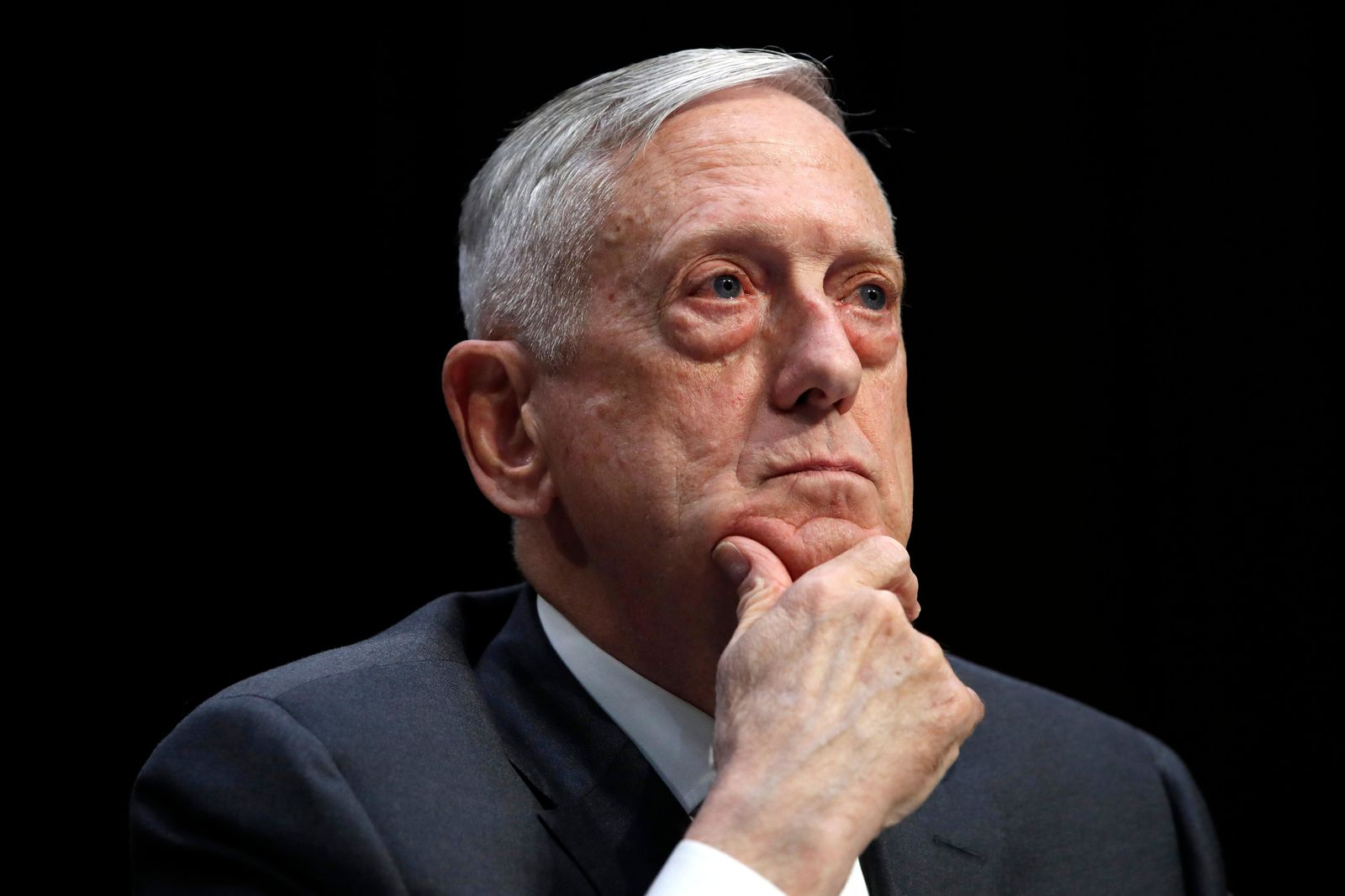 FILE - In this April 26, 2018, file photo, Defense Secretary Jim Mattis listens to a question during a hearing on Capitol Hill in Washington.{ } (AP Photo/Jacquelyn Martin, File)