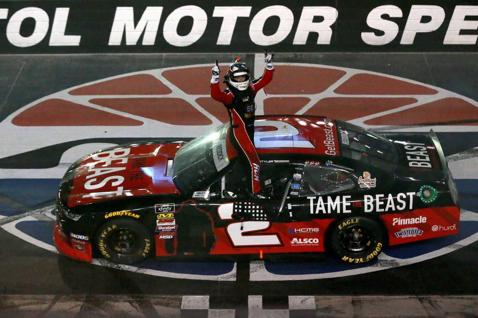 BRISTOL, TENNESSEE - AUGUST 16: Tyler Reddick, driver of the #2 Tame the BEAST Chevrolet, celebrates after winning the NASCAR Xfinity Series Food City 300 at Bristol Motor Speedway on August 16, 2019 in Bristol, Tennessee. (Photo by Sean Gardner/Getty Images)