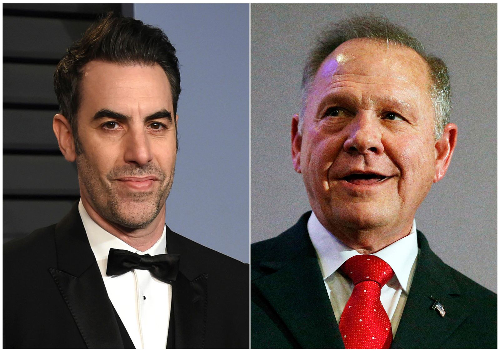 This combination photo shows Sacha Baron Cohen, left, at the Vanity Fair Oscar Party in Beverly Hills, Calif. (AP Photo)