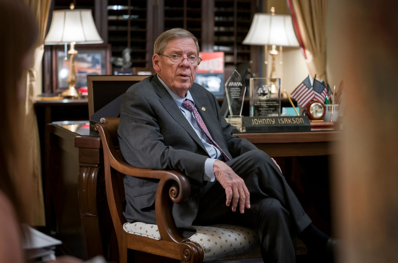 Sen. Johnny Isakson, R-Ga., meets with his staff in his office on Capitol Hill in Washington, Monday, Dec. 2, 2019, as he prepares to deliver his farewell address on the floor of the Senate tomorrow. (AP Photo/J. Scott Applewhite)