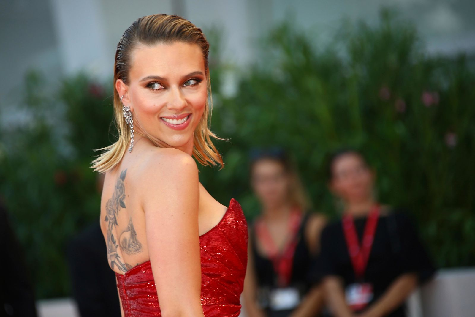 Actress Scarlett Johansson poses for photographers upon arrival at the premiere of the film 'Marriage Story' at the 76th edition of the Venice Film Festival, Venice, Italy, Thursday, Aug. 29, 2019. (Photo by Joel C Ryan/Invision/AP)
