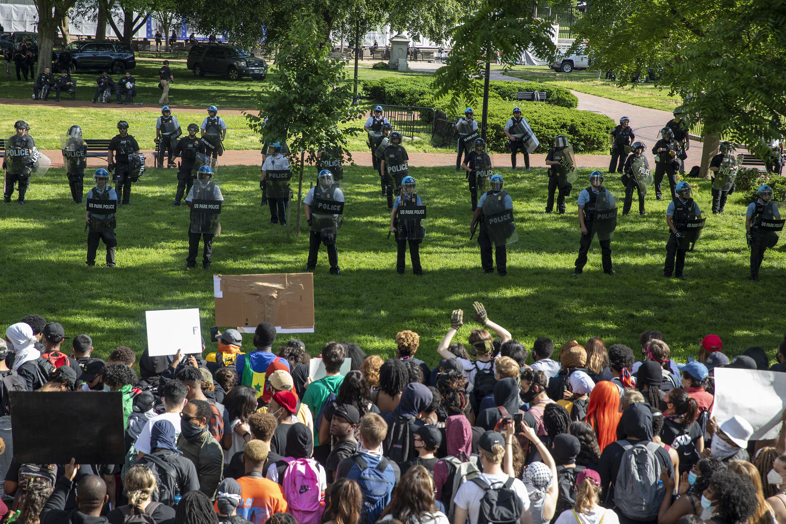 Protesters gather at Lafayette Square Park outside the White House on May 31, 2020 in Washington, DC. (Photo by Tasos Katopodis/Getty Images)