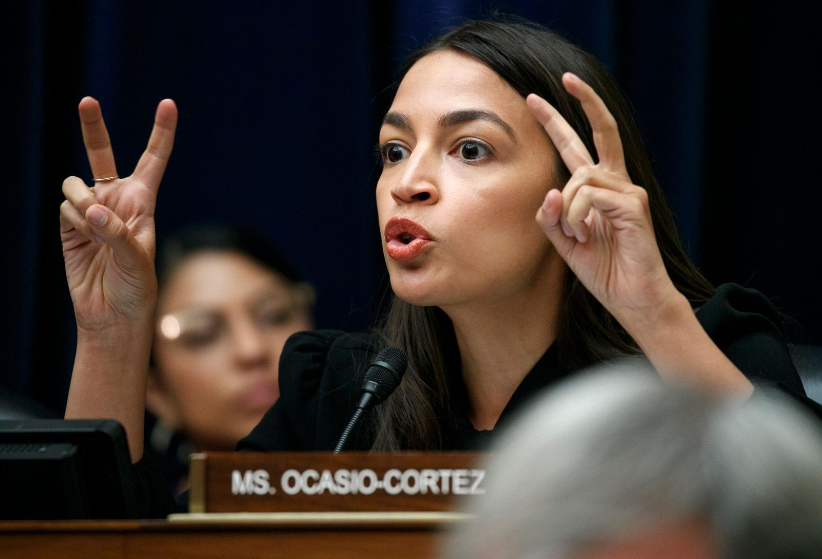 Rep. Alexandria Ocasio-Cortez, D-N.Y., asks a question during a House Oversight subcommittee hearing into the Trump administration's decision to stop considering requests from immigrants seeking to remain in the country for medical treatment and other hardships, Wednesday, Sept. 11, 2019, in Washington. (AP Photo/Jacquelyn Martin)