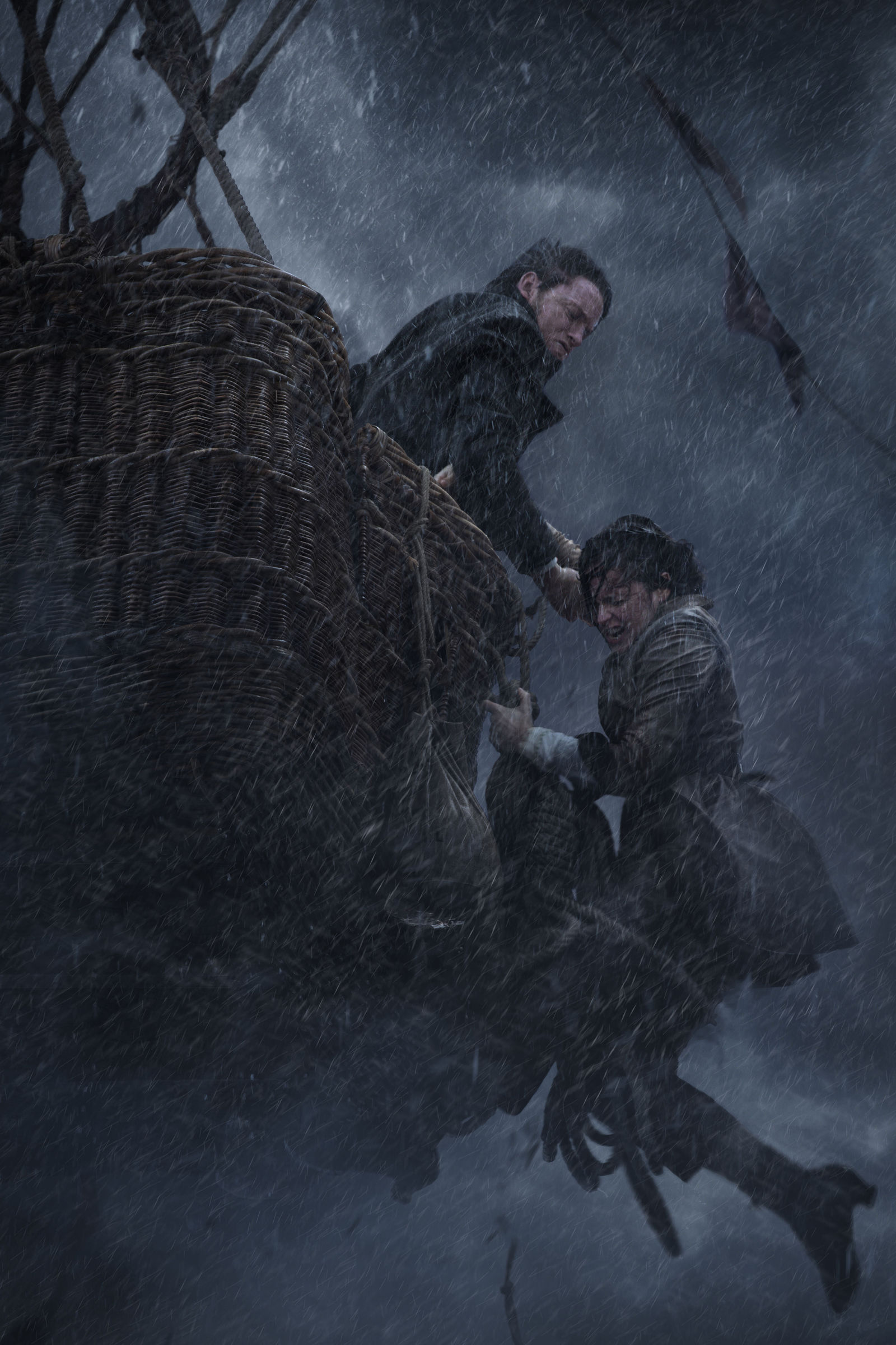 "This image released by Amazon Studios shows Eddie Redmayne, left, and Felicity Jones in ""The Aeronauts."" (Amazon Studios via AP)"