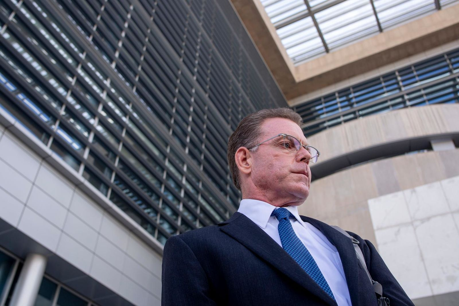 Douglas Haig leaves the Lloyd George Federal Courthouse, Tuesday Nov. 19, 2019, in Las Vegas, after pleading guilty to illegally manufacturing tracer and armor-piercing bullets found in a high-rise hotel suite where a gunman took aim before the Las Vegas Strip massacre two years ago. Haig is a 57-year-old aerospace engineer who used to reload bullets at home in Mesa, Airz., and sell them at gun shows. He isn't accused of a direct role in the Oct. 1, 2017, shooting that killed 58 people and injured hundreds at an open-air music festival.(Elizabeth Page Brumley/Las Vegas Review-Journal via AP)