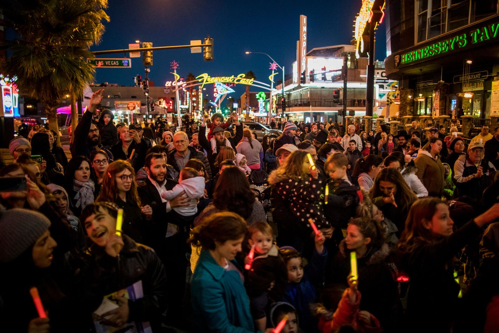 Crowds watch Rabbi Shea Harlig light the Grand Menorah in downtown Las Vegas on Sunday, Dec. 2. The Grand Menorah will remain on display throughout the Hanukkah season. CREDIT: Joe Buglewicz/Las Vegas News Bureau