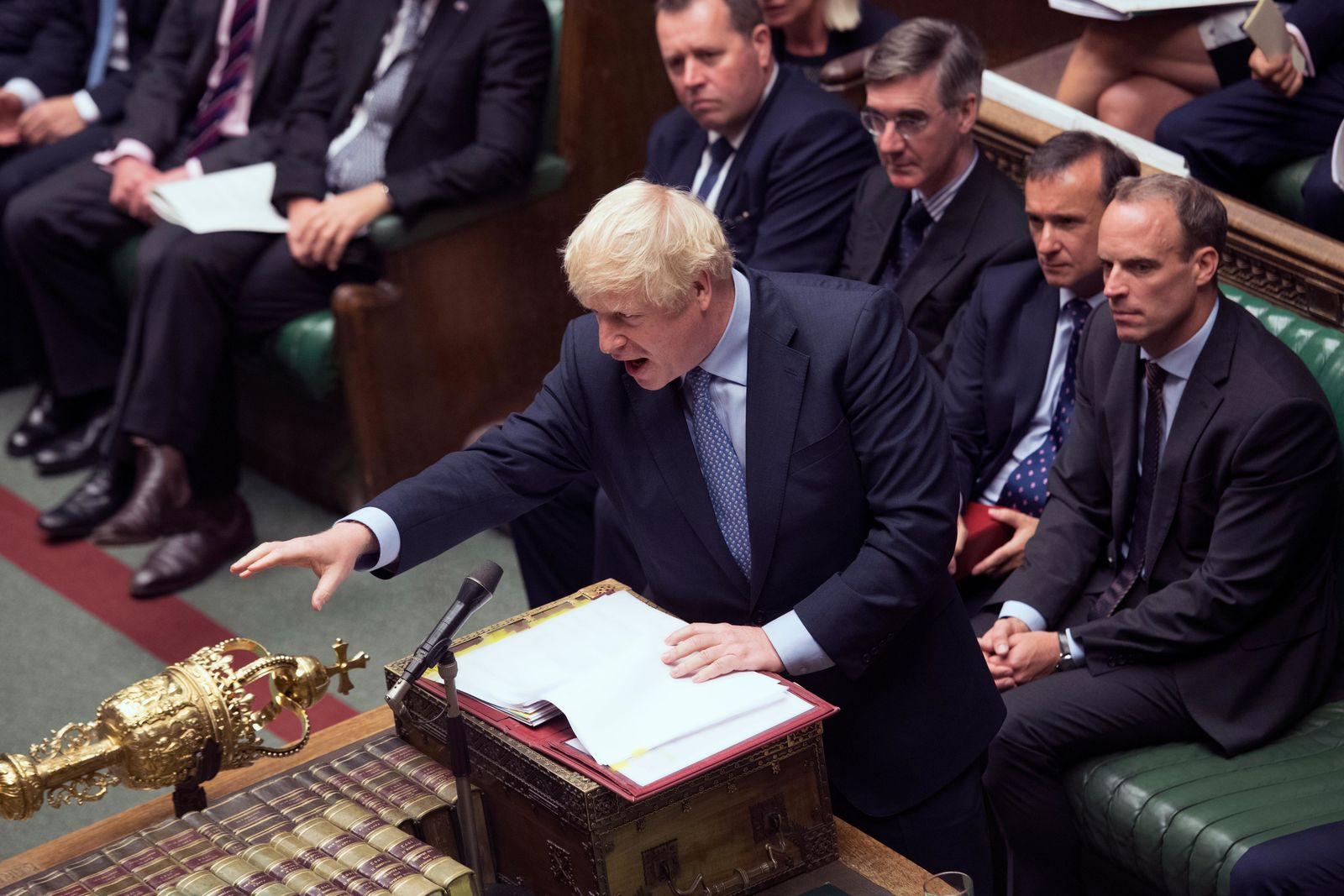In this handout photo provided by the House of Commons, Britain's Prime Minister Boris Johnson gestures during his first Prime Minister's Questions, in the House of Commons in London, Wednesday, Sept. 4, 2019. (Jessica Taylor/House of Commons via AP)