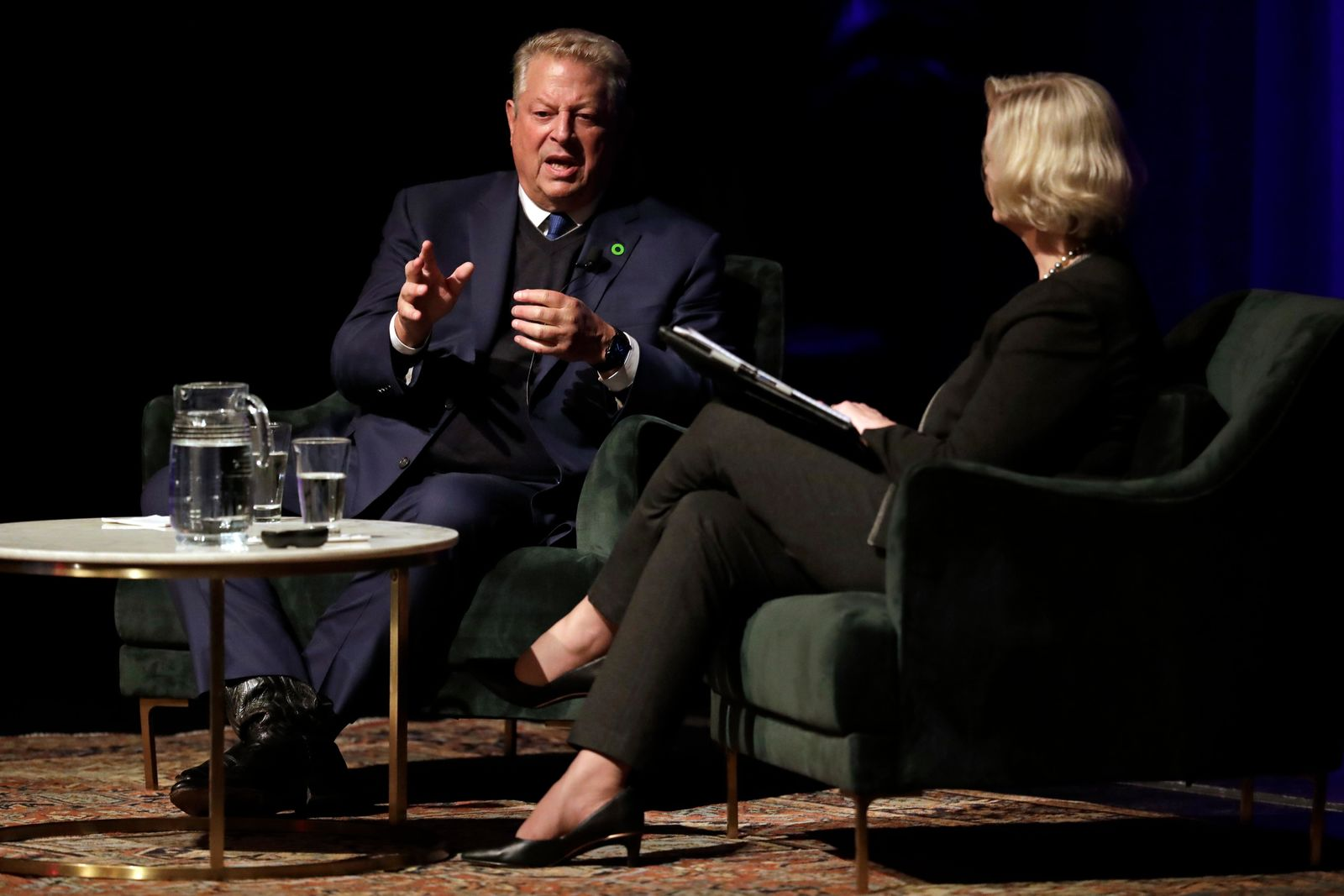 Former Vice President Al Gore speaks with Susan Wente, Vanderbilt University interim provost and chancellor, Wednesday, Nov. 20, 2019, in Nashville, Tenn. Earlier Gore spoke on climate change as part of a worldwide event called 24 Hours of Reality: Truth in Action. (AP Photo/Mark Humphrey)