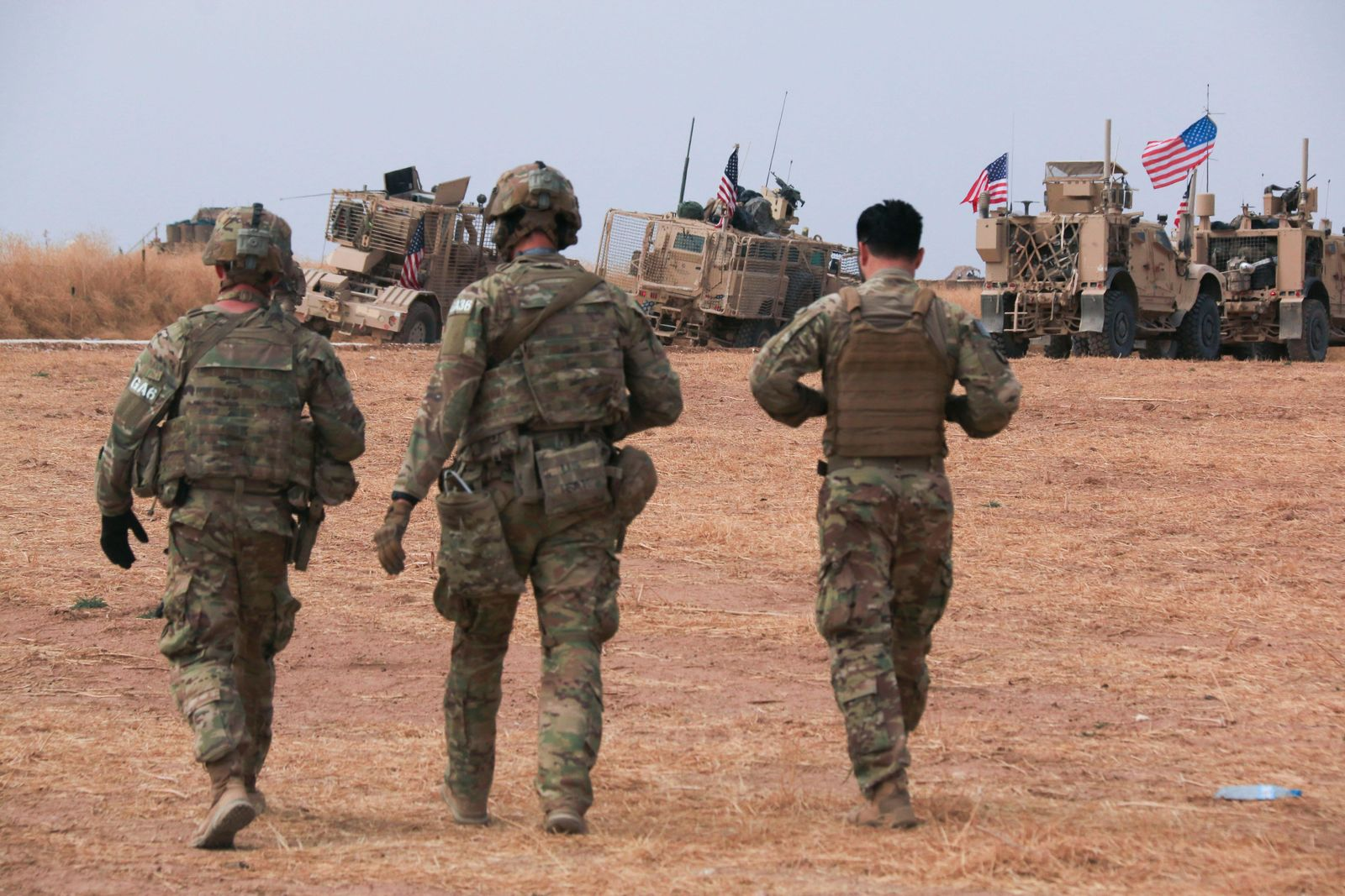 American military convoy stops near the town of Tel Tamr, north Syria, Sunday, Oct. 20, 2019.{ } (AP Photo/Baderkhan Ahmad)