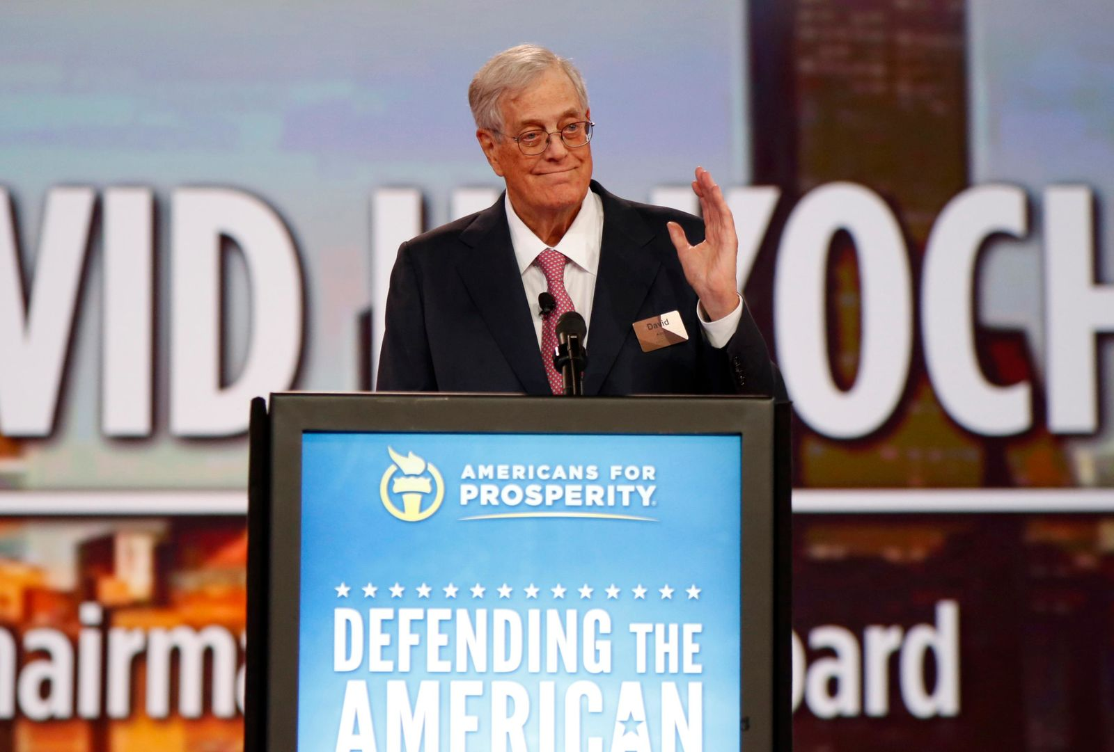 FILE - In this Aug. 1, 2015 file photo, Chairman of the board of Americans for Prosperity David Koch speaks at the Defending the American Dream summit hosted by Americans for Prosperity at the Greater Columbus Convention Center in Columbus, Ohio. (AP Photo/Paul Vernon, File)