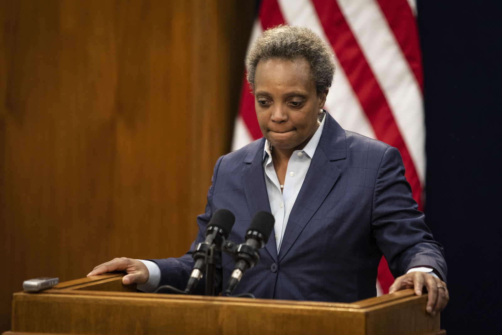 Mayor Lori Lightfoot speaks during a press conference at City Hall to announce the firing of Chicago Police Supt. Eddie Johnson, Monday morning, Dec. 2, 2019. | Ashlee Rezin Garcia/Sun-Times/Chicago Sun-Times via AP)